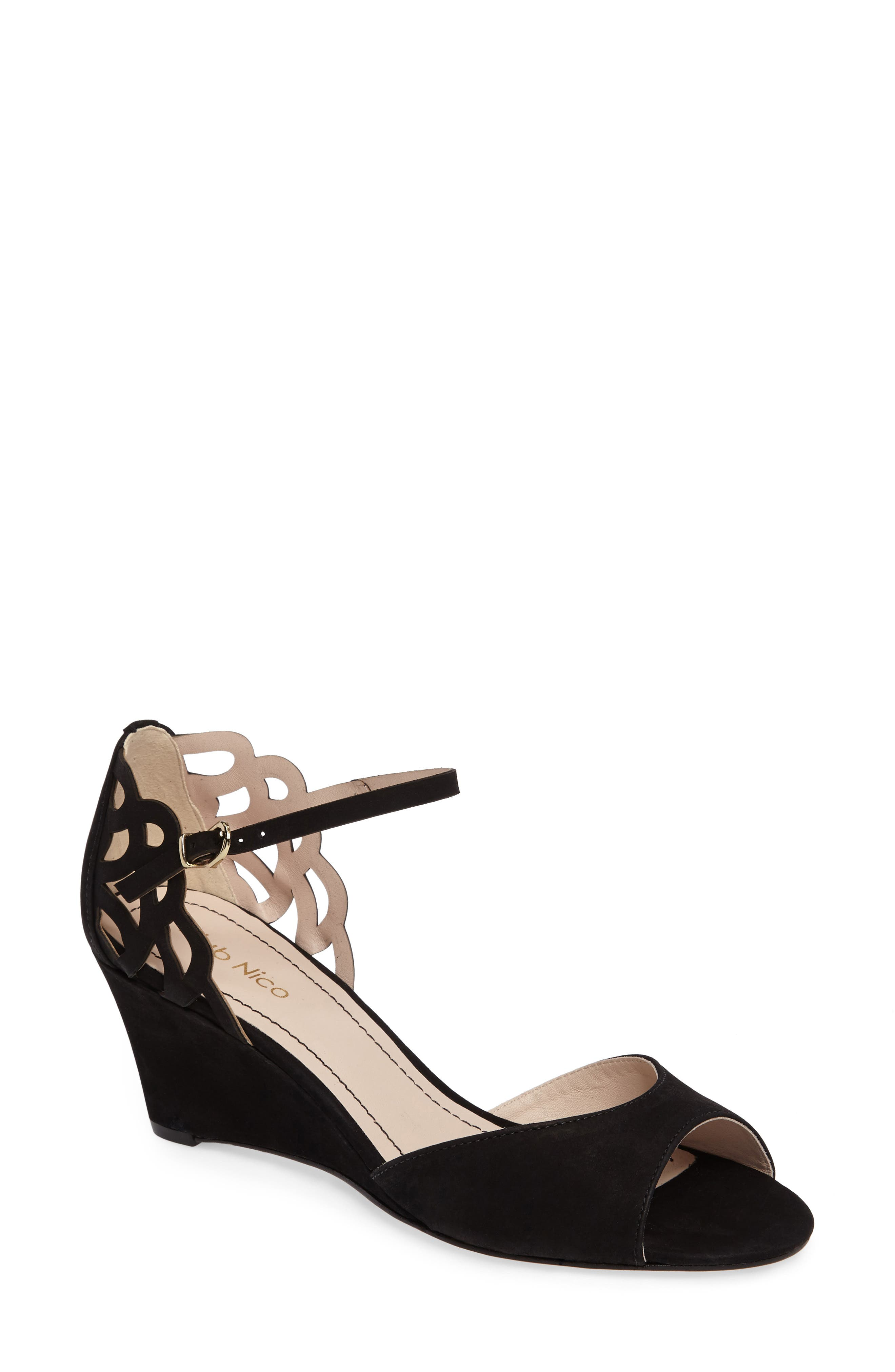 Karina Cutout Sandal,                         Main,                         color, Black Nubuck Leather