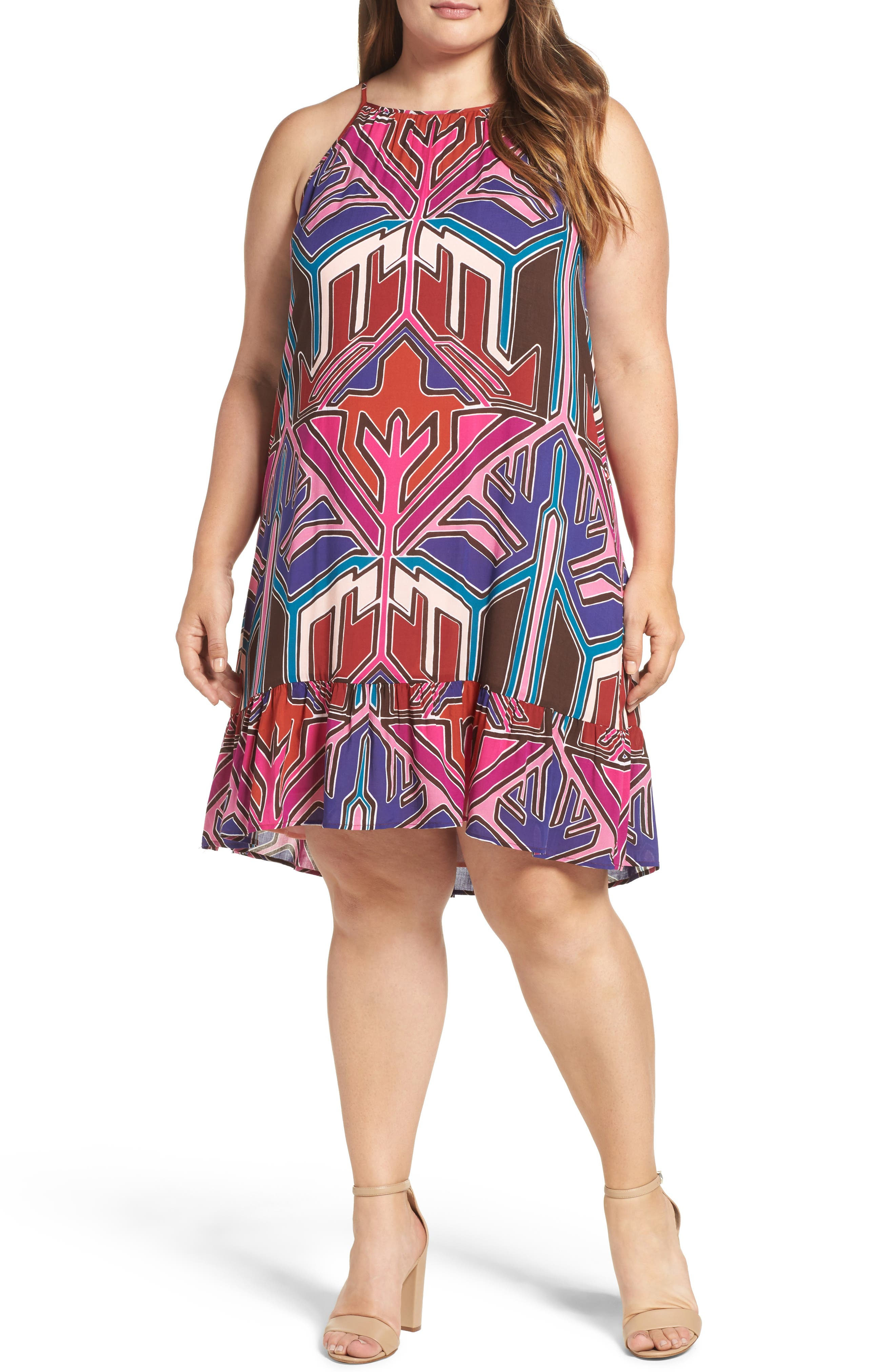 Angelica A-Line Shift Dress,                             Main thumbnail 1, color,                             Painted Aztec