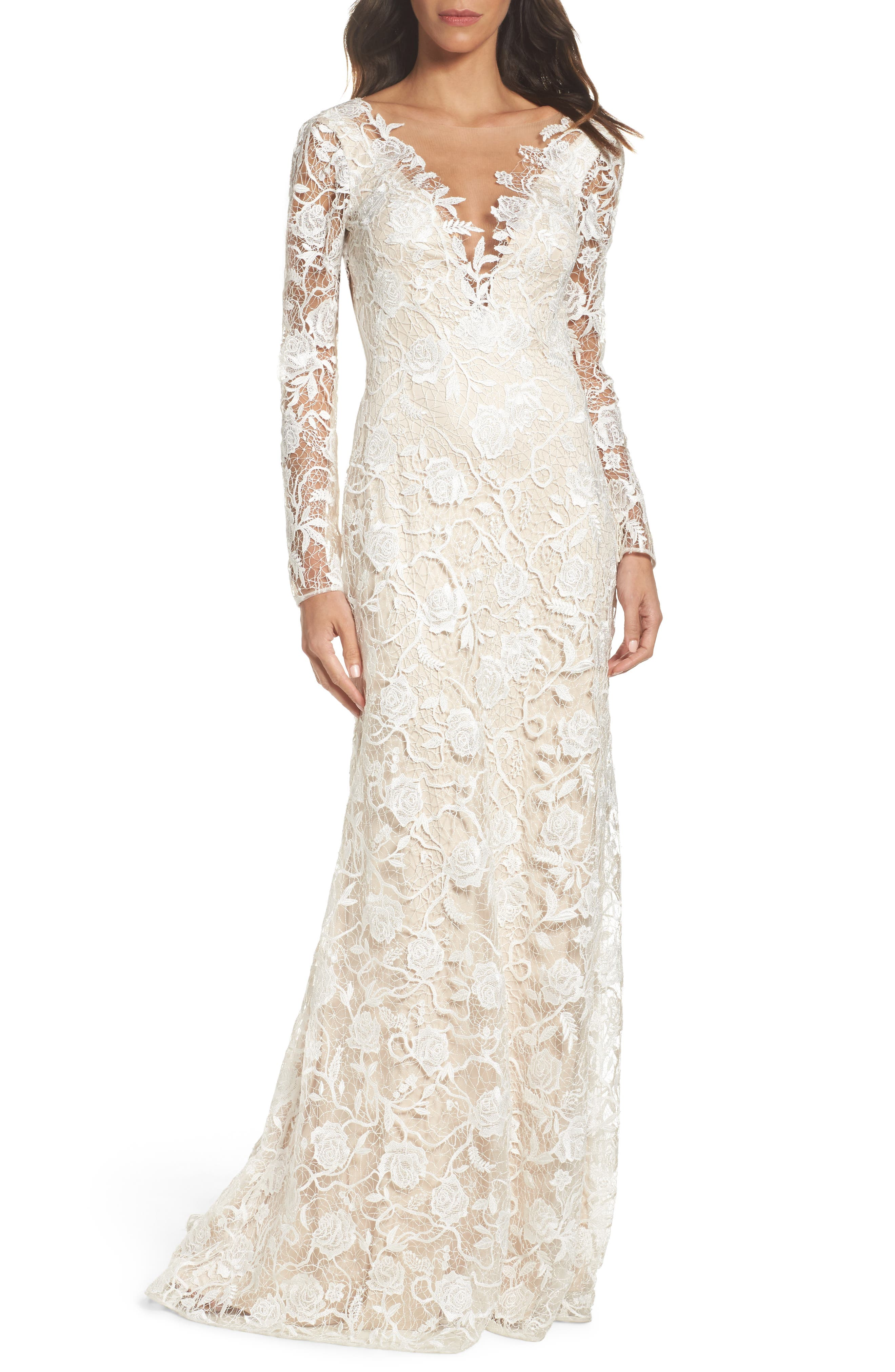 Long Sleeve A-Line Sheath Gown,                         Main,                         color, Ivory/ Petal