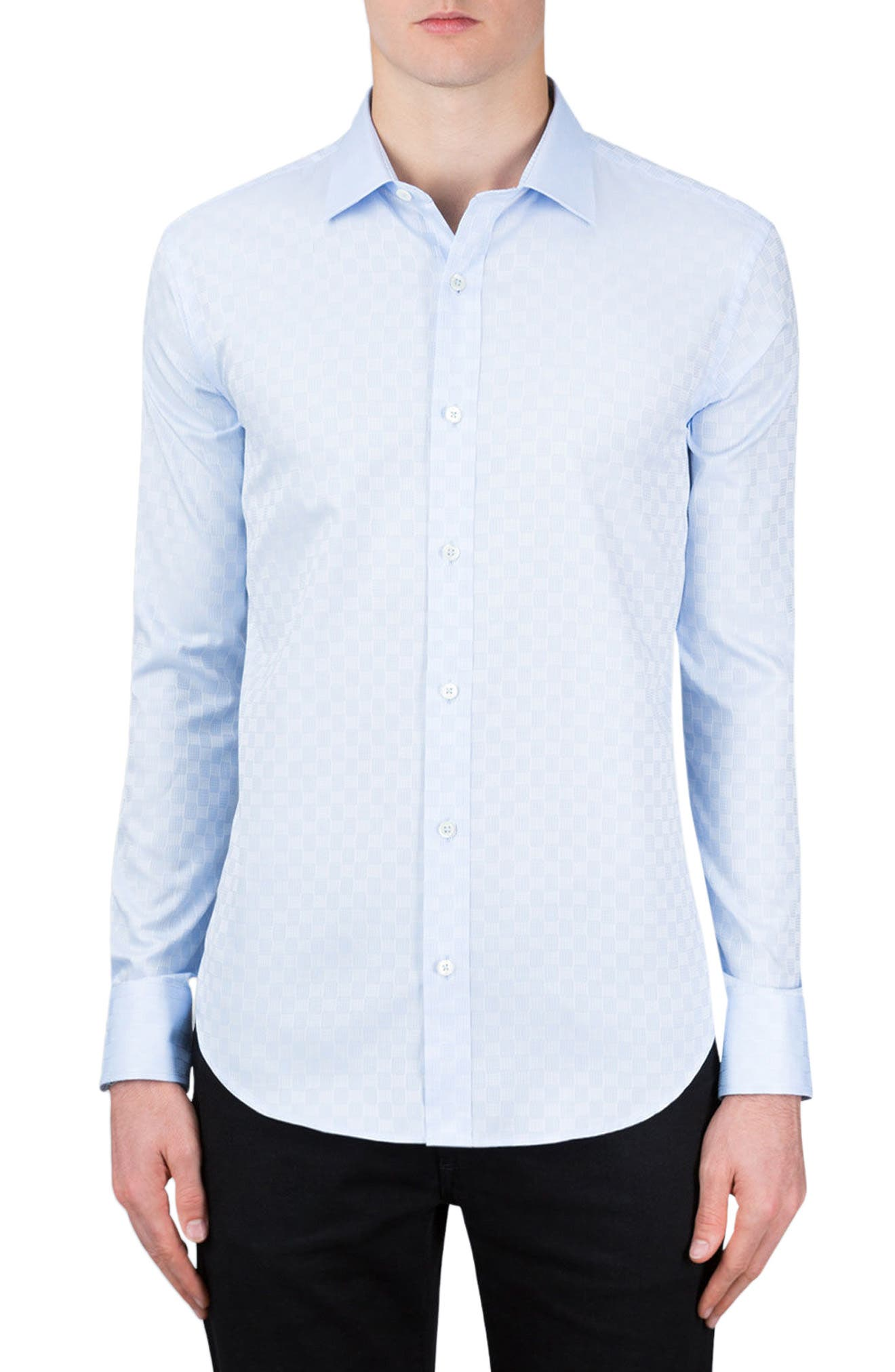 Classic Fit Optic Print Sport Shirt,                         Main,                         color, Sky