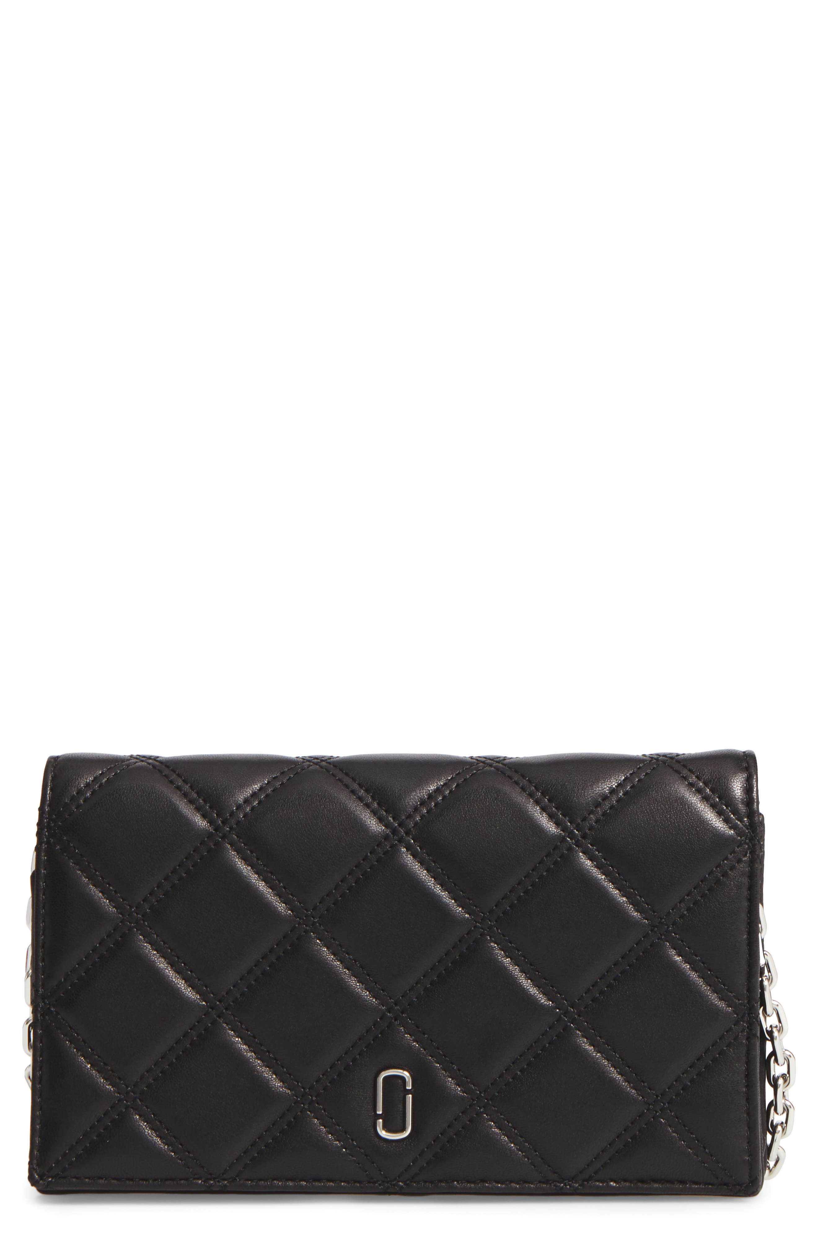 Quilted Leather Wallet on a Chain,                             Main thumbnail 1, color,                             Black