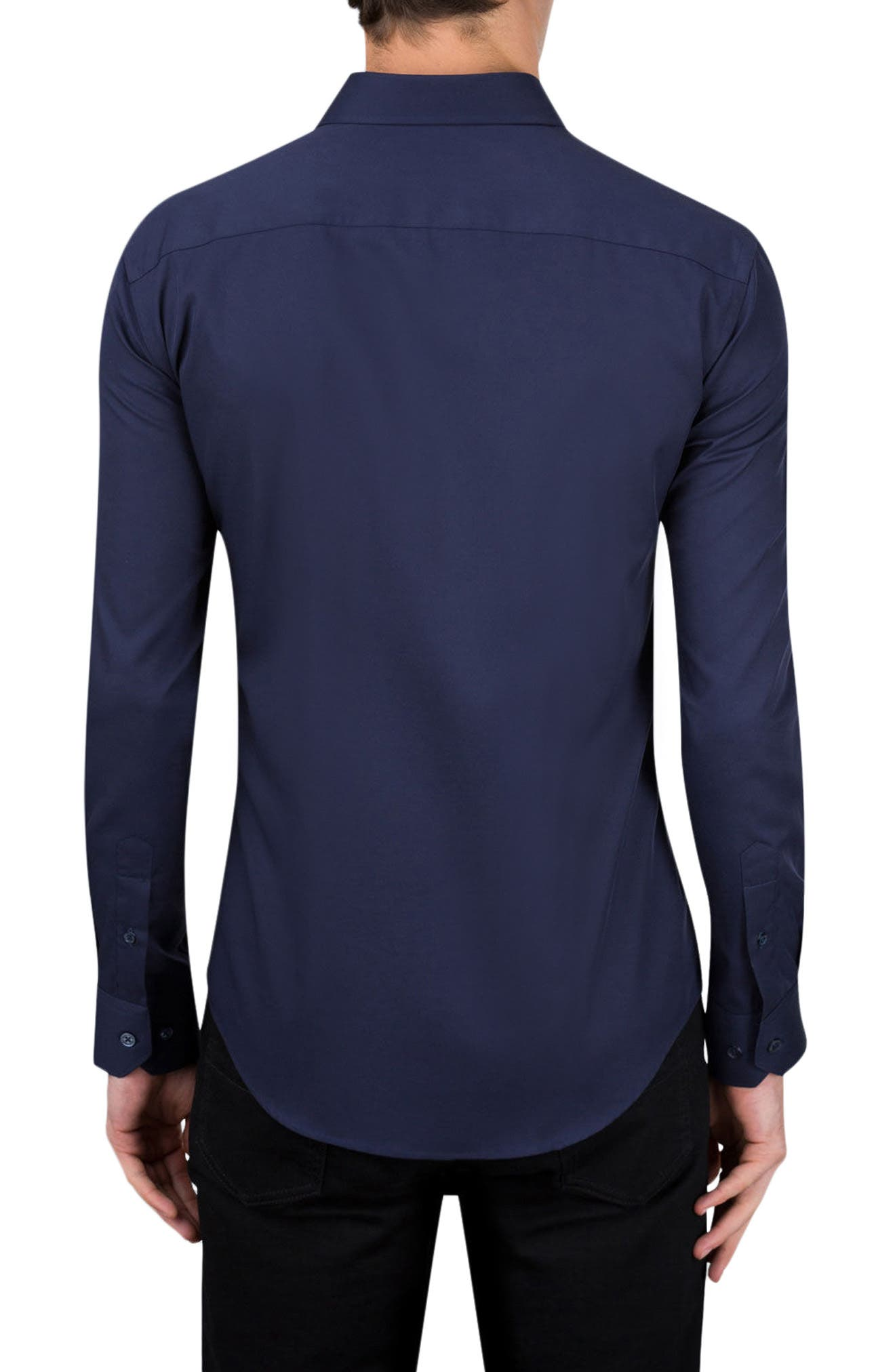 Classic Fit Sport Shirt,                             Alternate thumbnail 2, color,                             Navy
