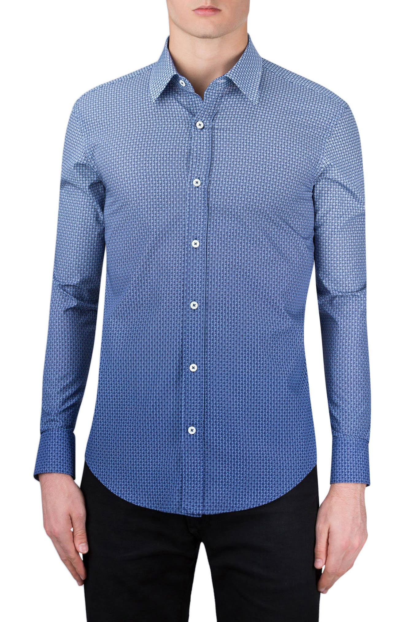 Shaped Fit Sport Shirt,                         Main,                         color, Navy