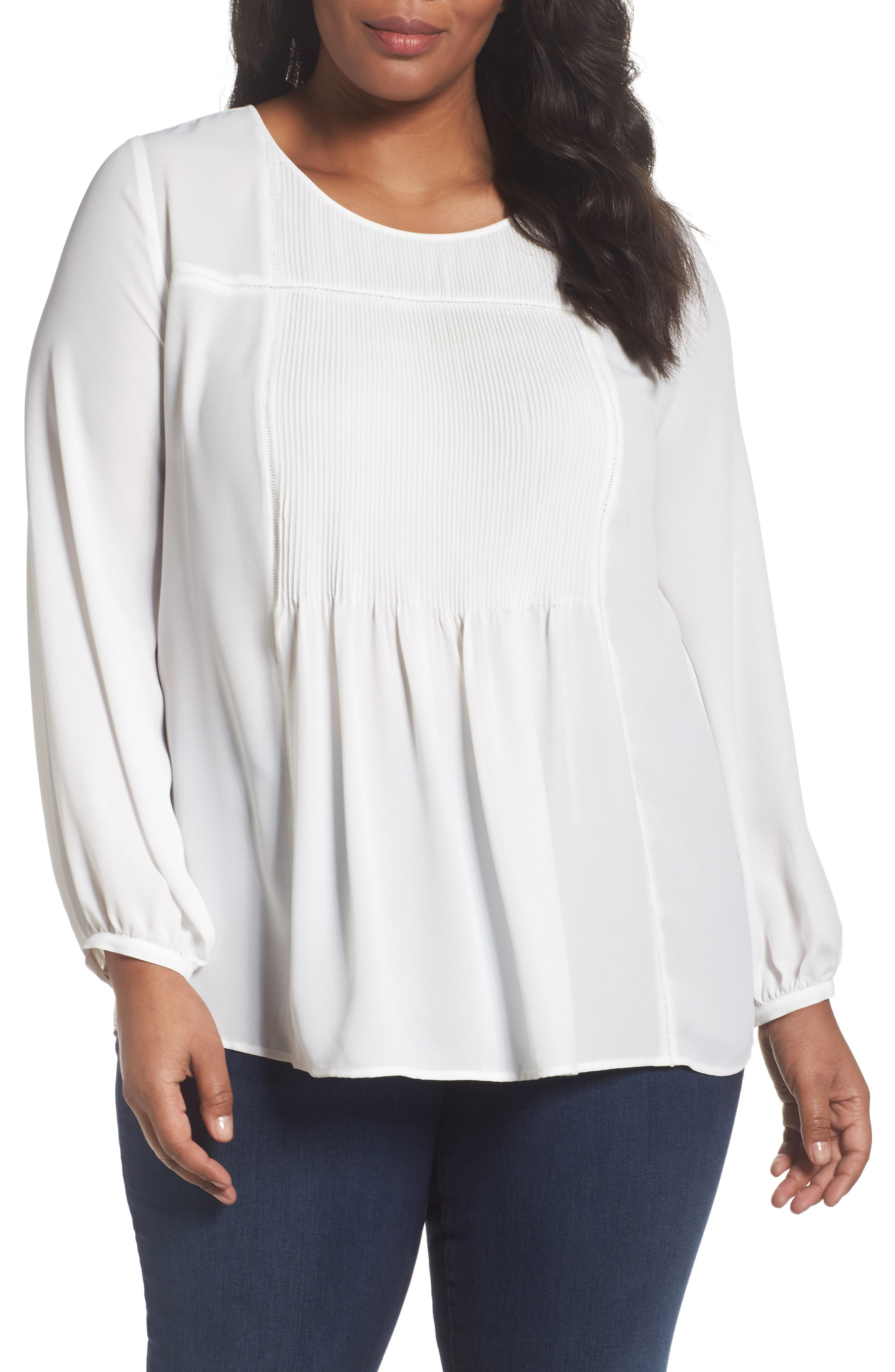 Alternate Image 1 Selected - Sejour Pintuck Blouse (Plus Size)