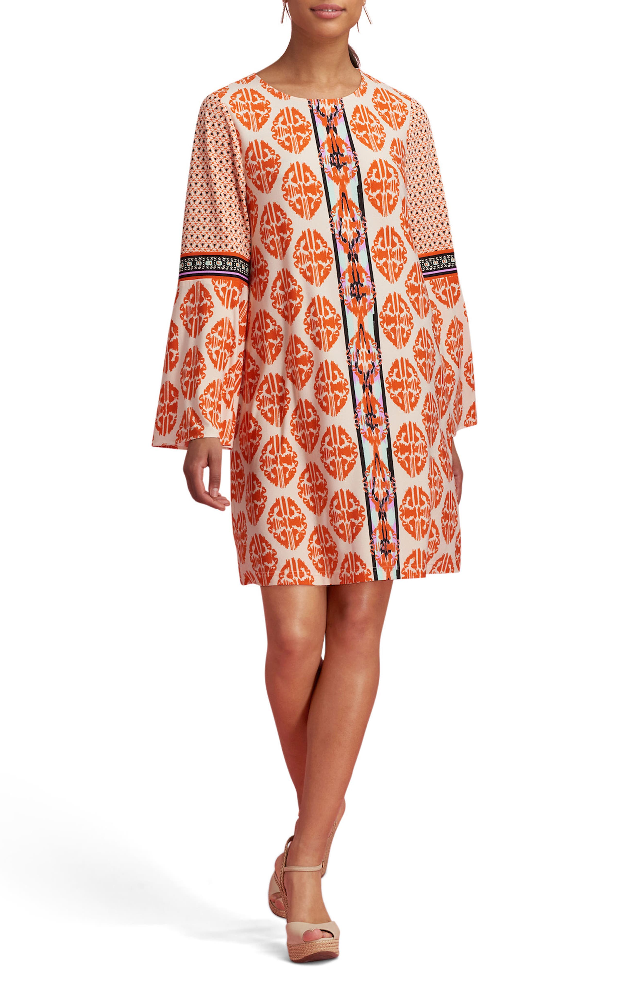 Print Bell Sleeve Dress,                             Main thumbnail 1, color,                             Ivory/ Orange