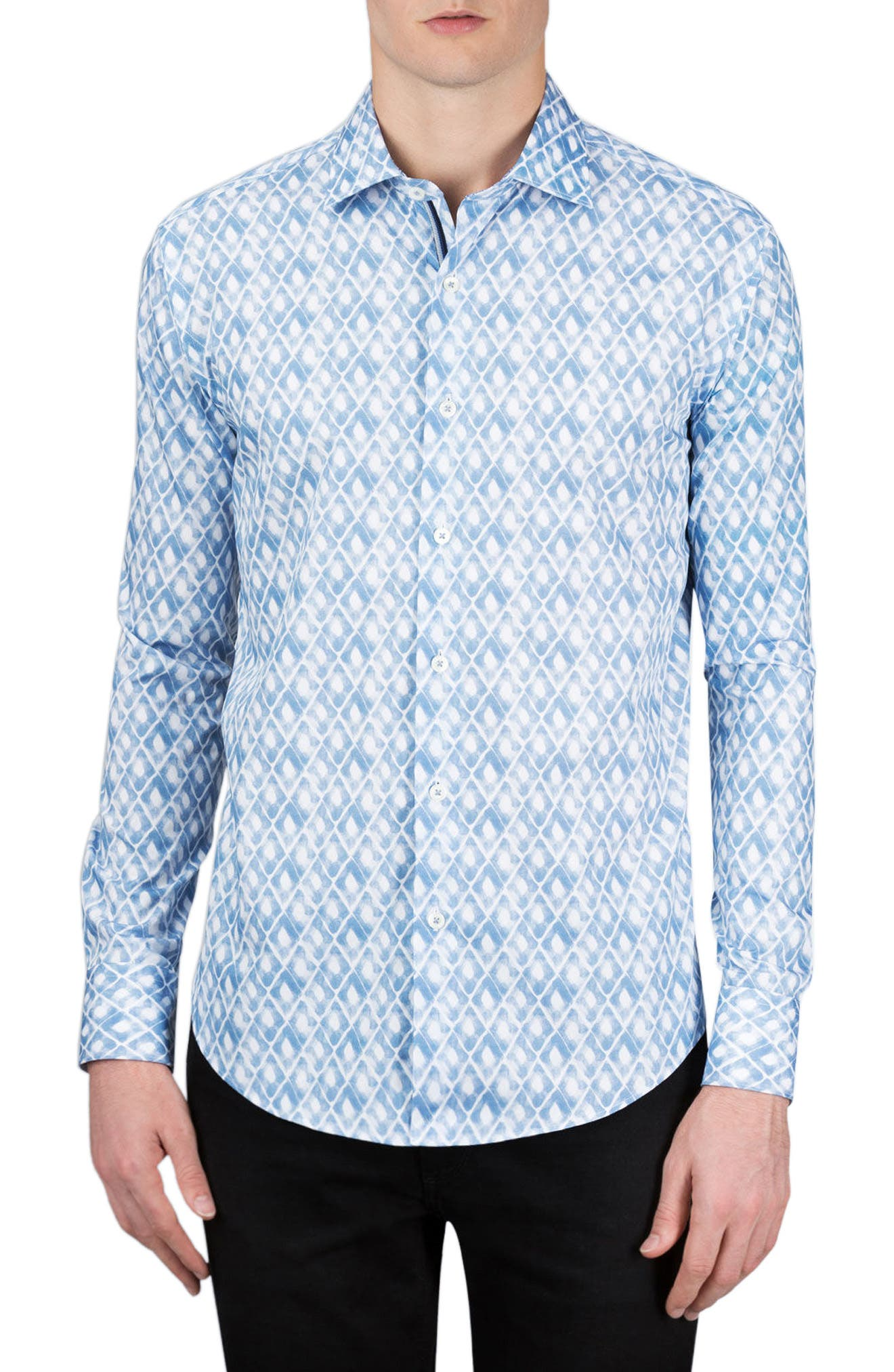 Classic Fit Abstract Print Sport Shirt,                         Main,                         color, Air Blue