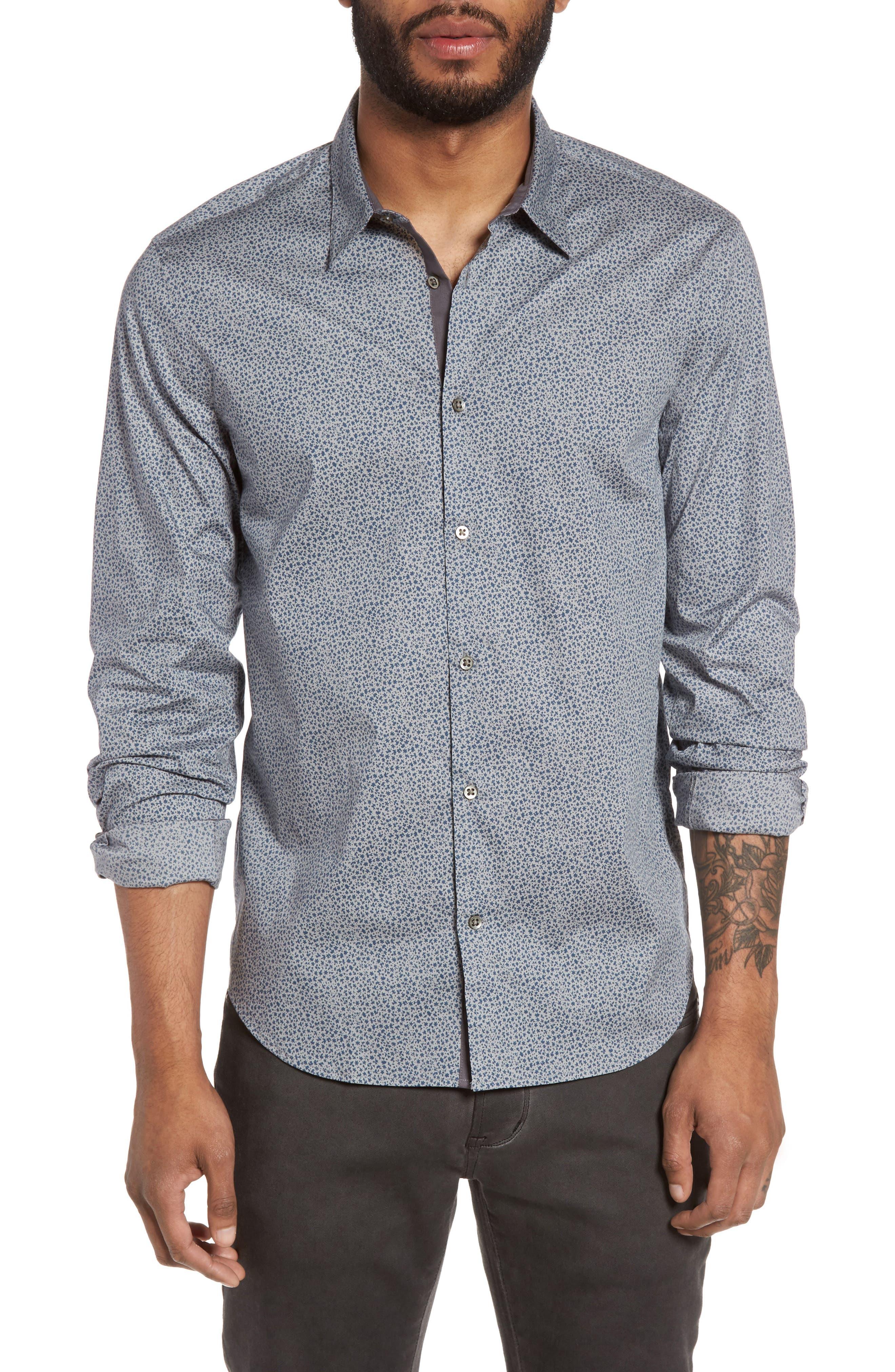JOHN VARVATOS STAR USA Slim Fit Print Sport Shirt