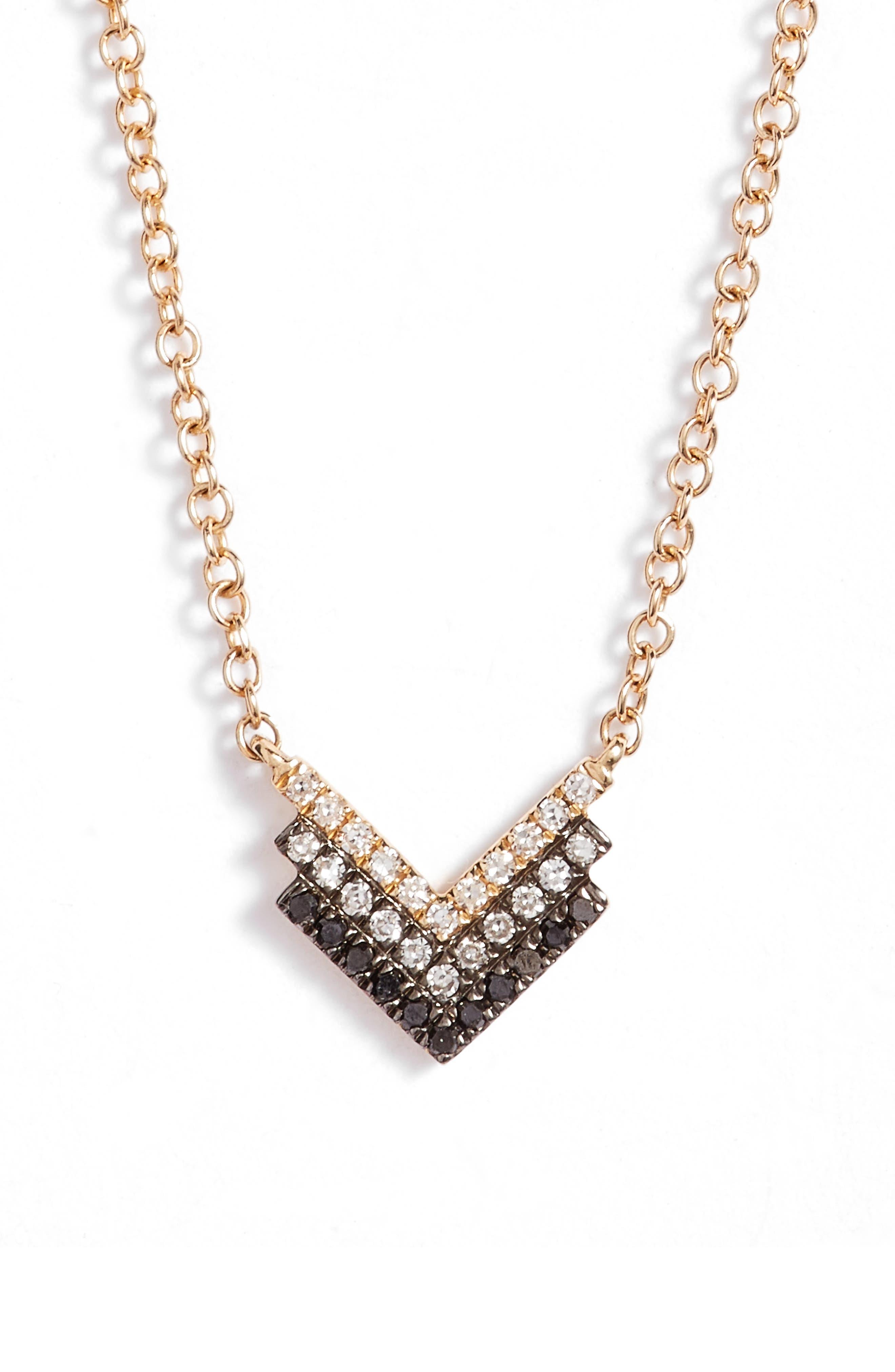 Diamond Shield Pendant Necklace,                         Main,                         color, Yellow Gold