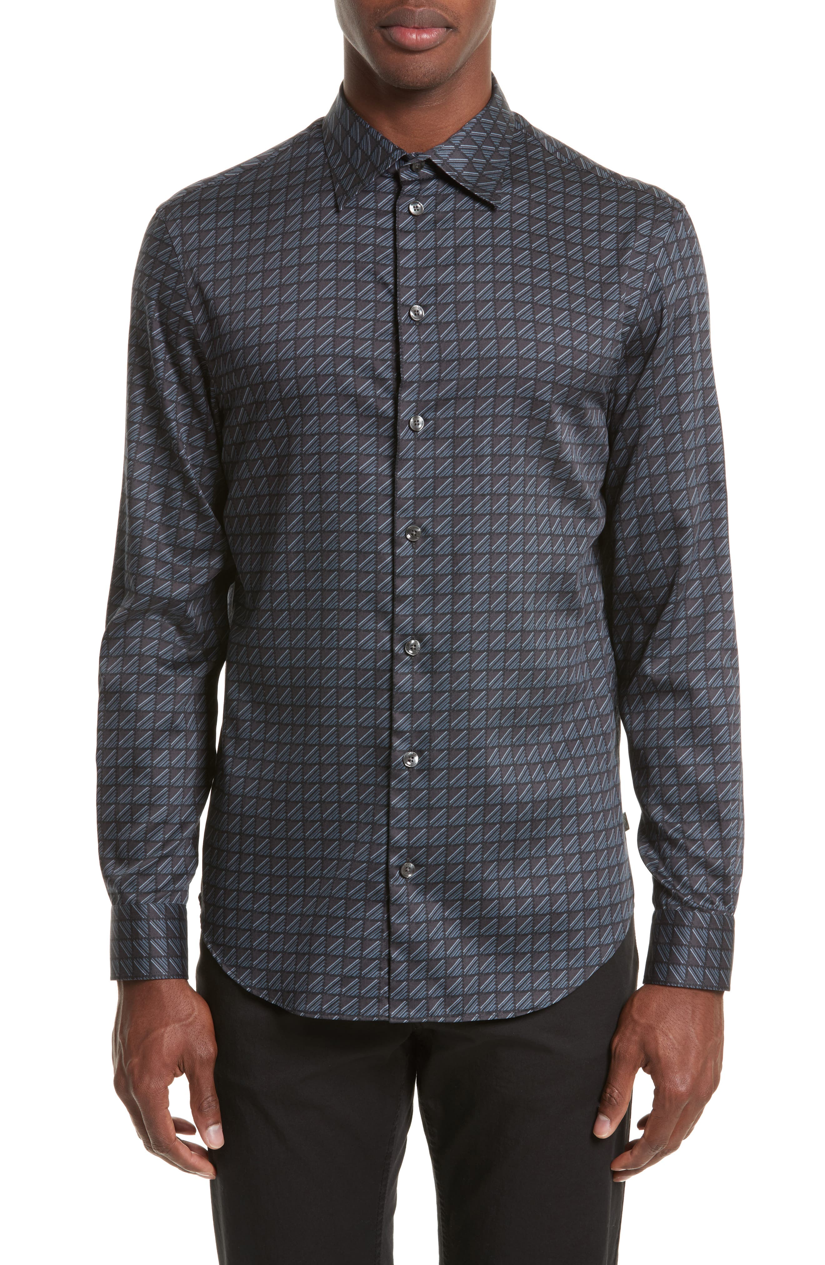 Regular Fit Geo Print Sport Shirt,                         Main,                         color, Printed Black