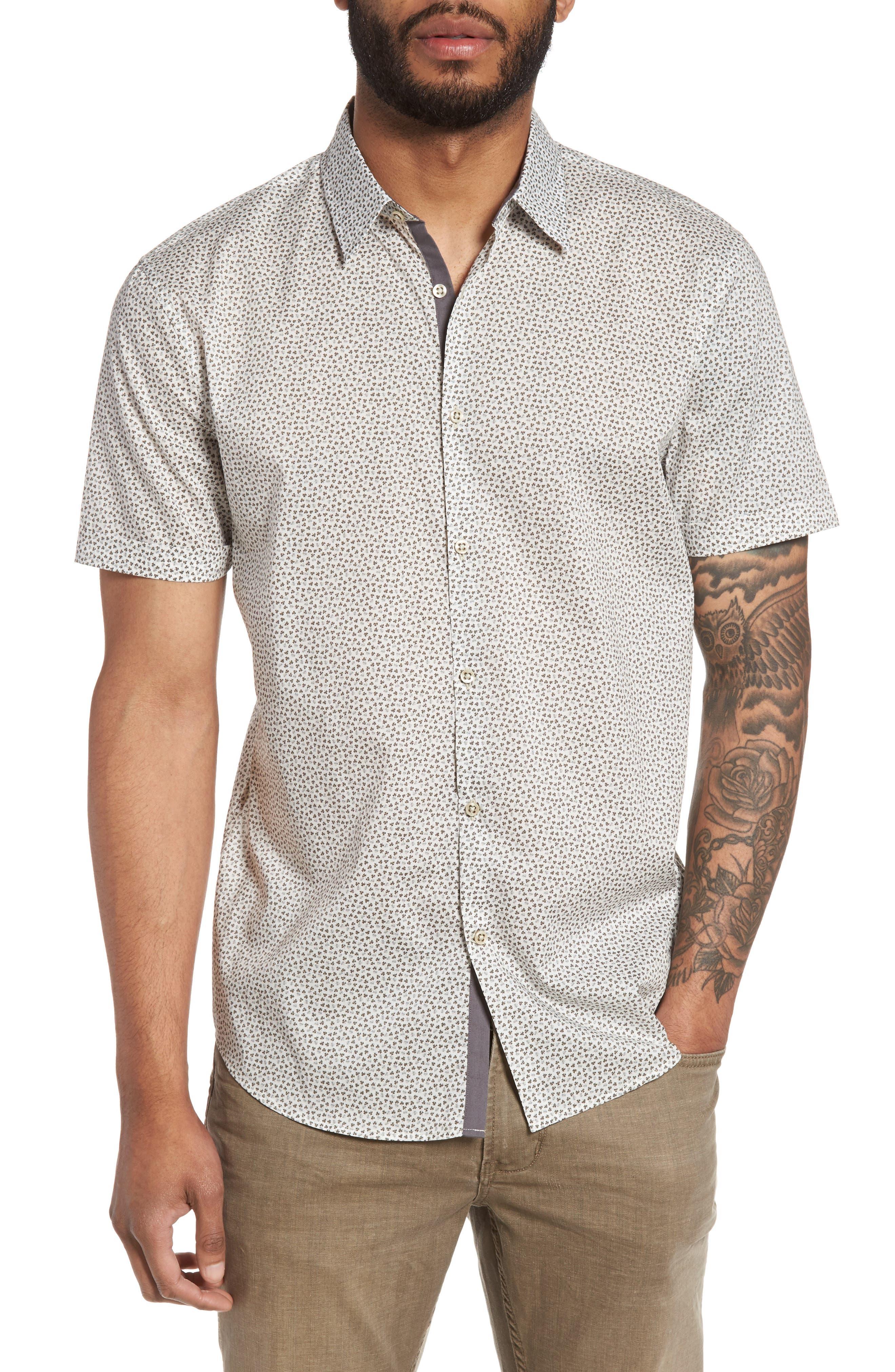 John Varvatos Star USA Trim Fit Print Sport Shirt