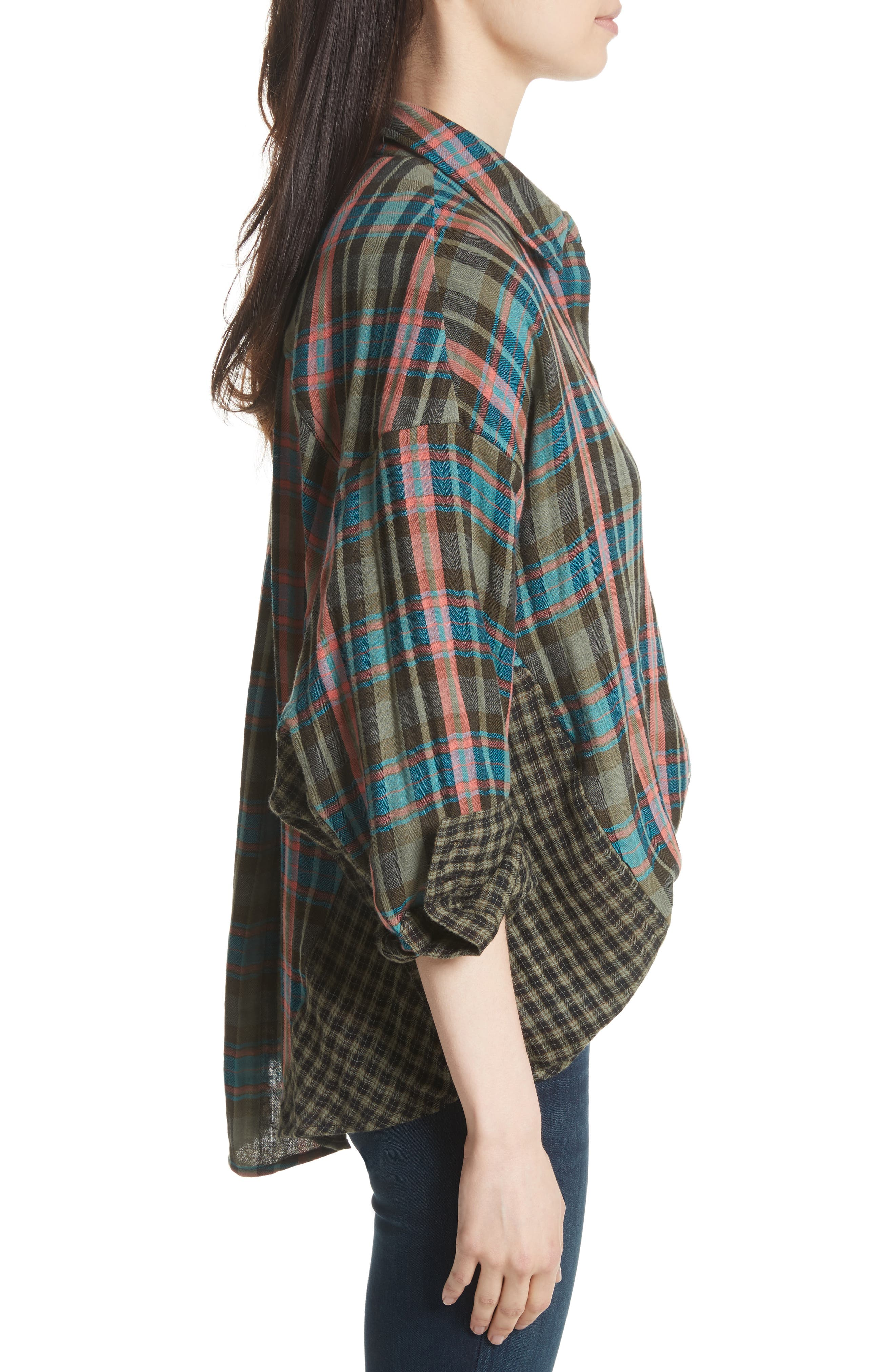 One of the Guys Plaid Shirt,                             Alternate thumbnail 3, color,                             Green Combo
