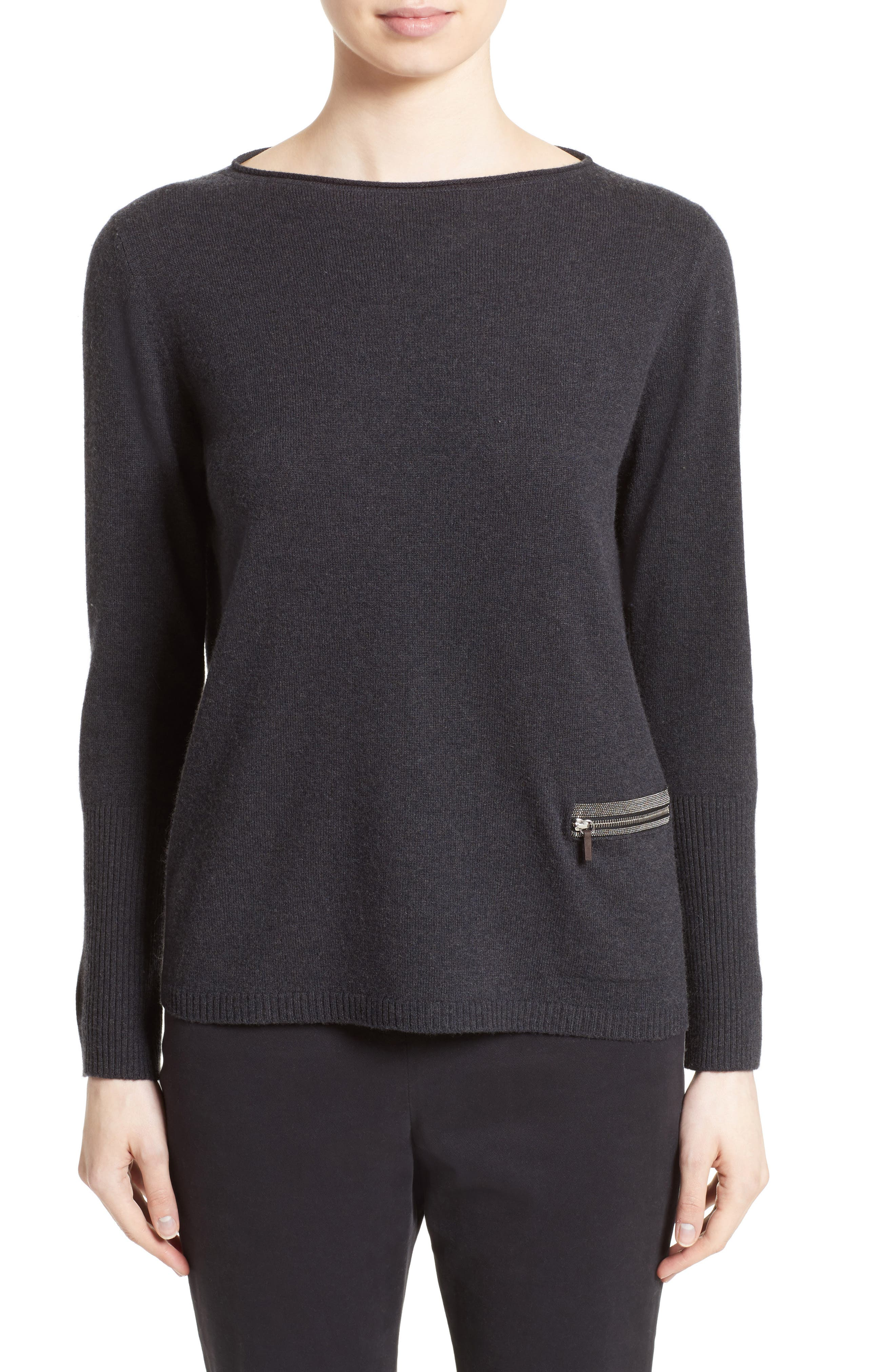 Wool, Silk & Cashmere Boatneck Sweater,                             Main thumbnail 1, color,                             Charcoal Navy