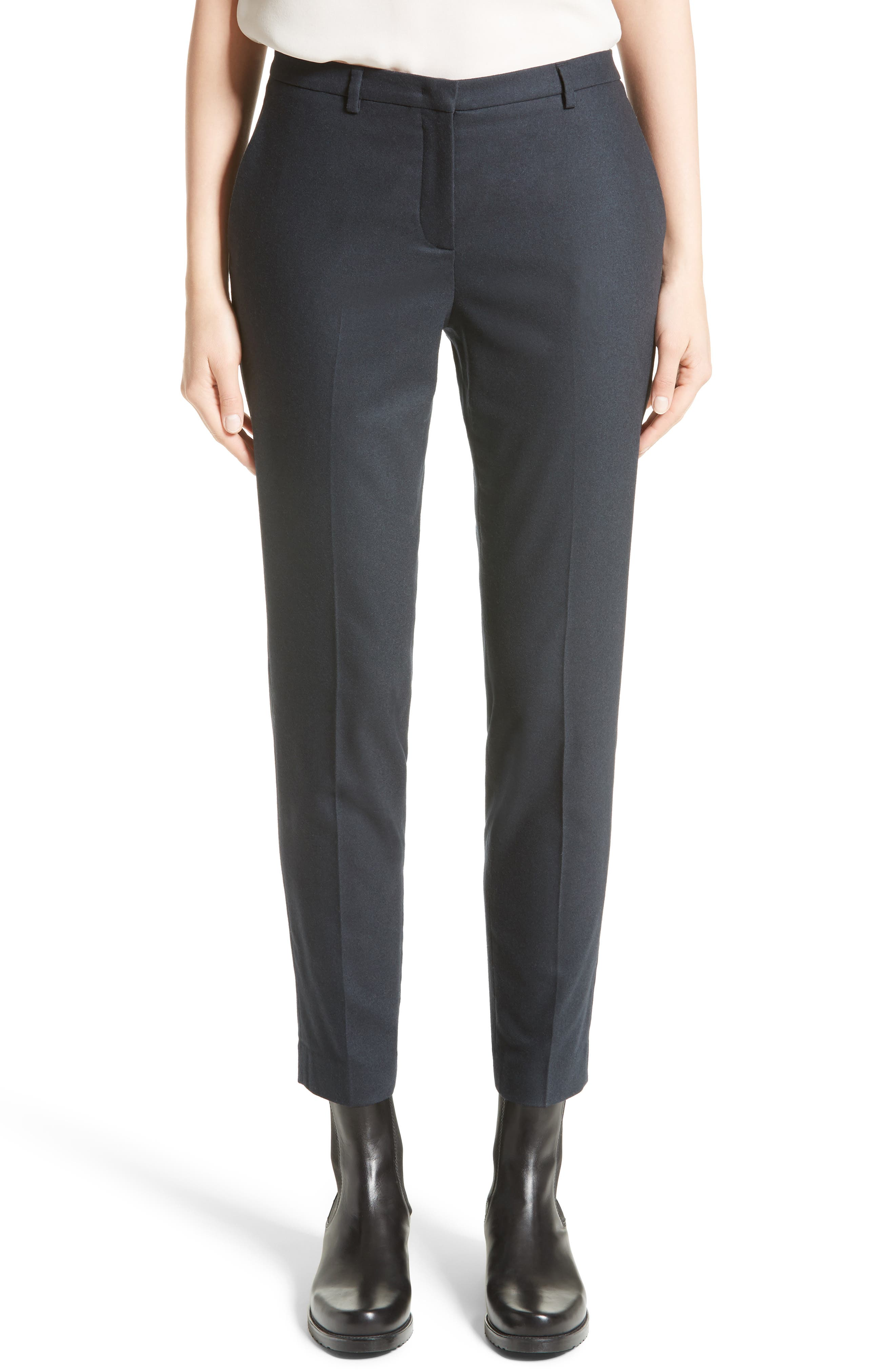 Fabiana Filippi Stretch Wool & Cashmere Flannel Ankle Trousers