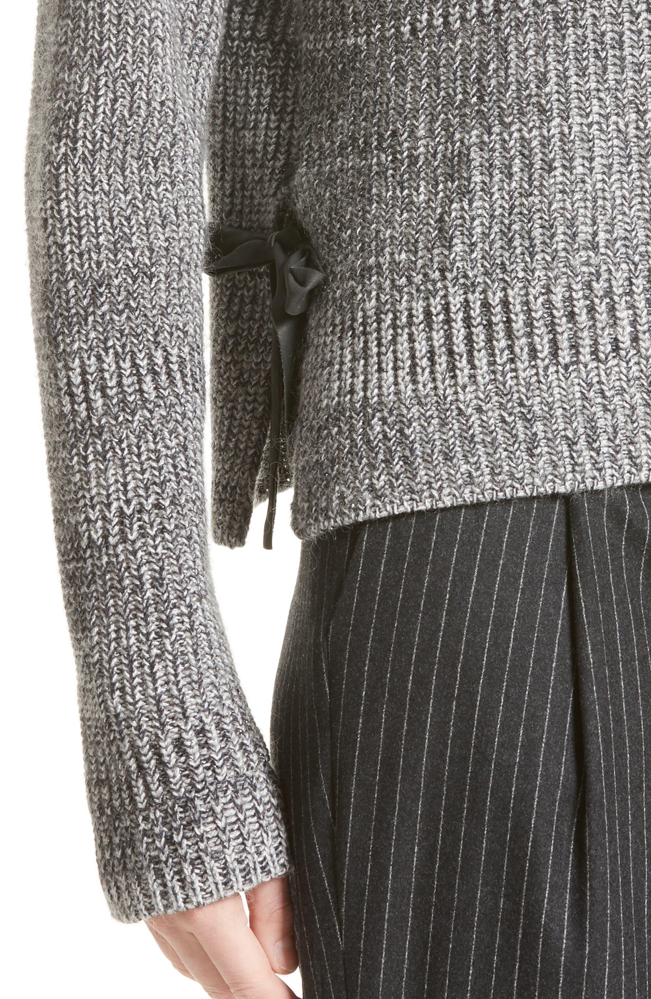 Herringbone Stitch Wool Blend Sweater,                             Alternate thumbnail 6, color,                             Grey Multi