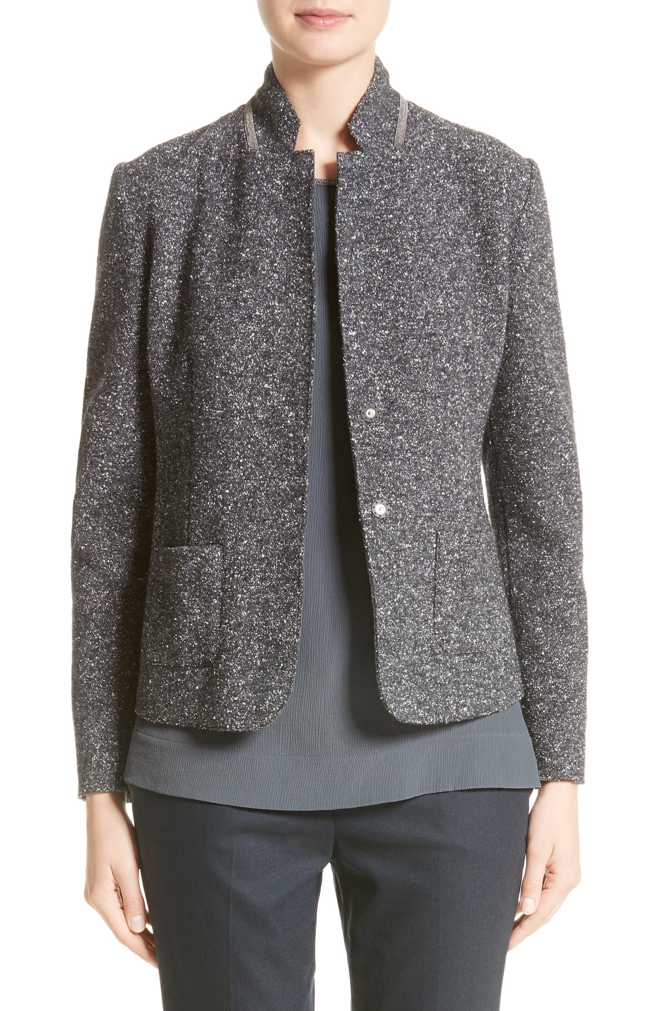 Pebble Tweed Knit Jacket,                             Main thumbnail 1, color,                             Grey Multi