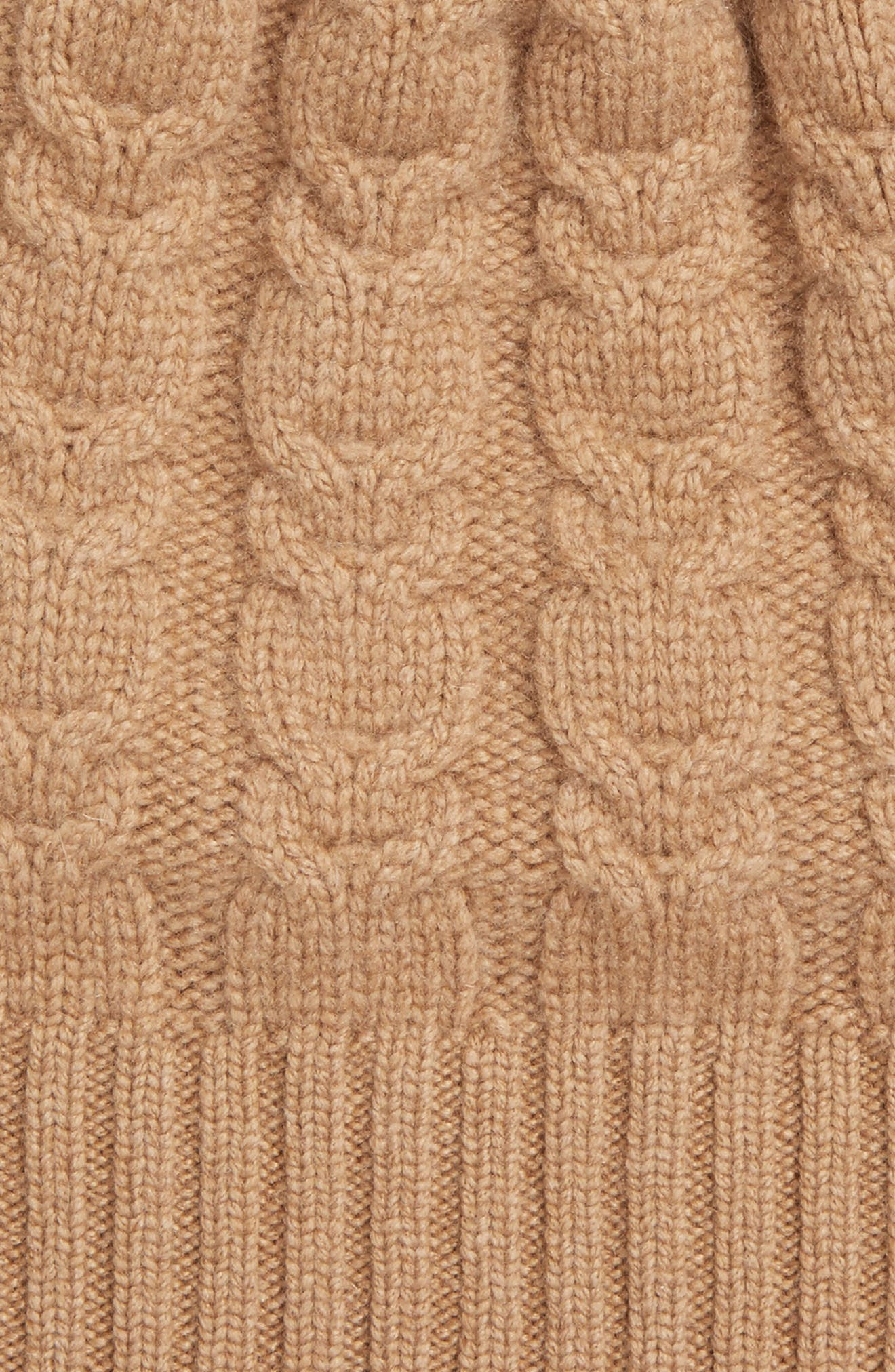 Cable Knit Cashmere Beanie with Genuine Fox Fur Pom,                             Alternate thumbnail 3, color,                             Camel