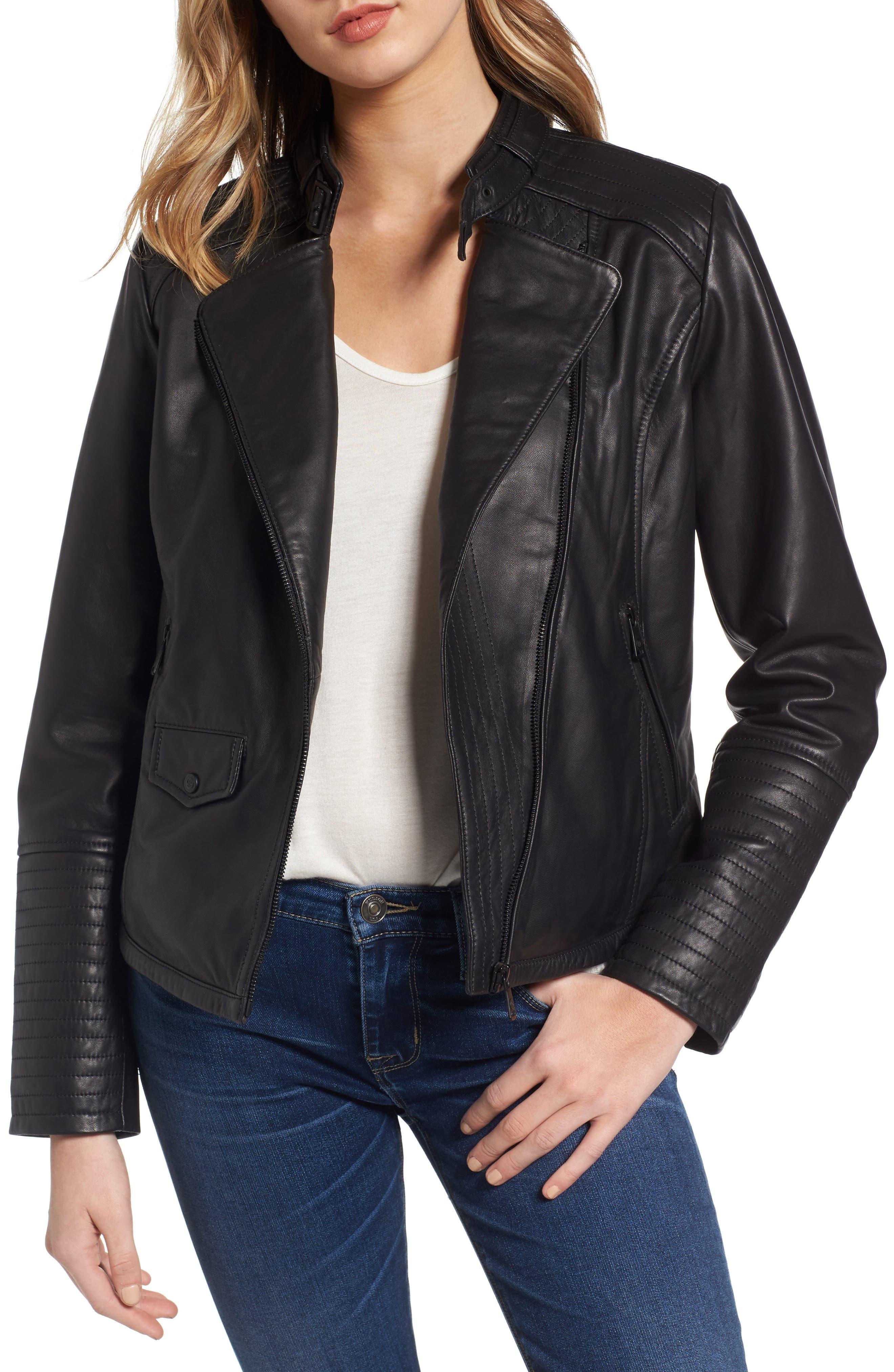 Jetta Asymmetrical Zip Leather Jacket,                         Main,                         color, Black