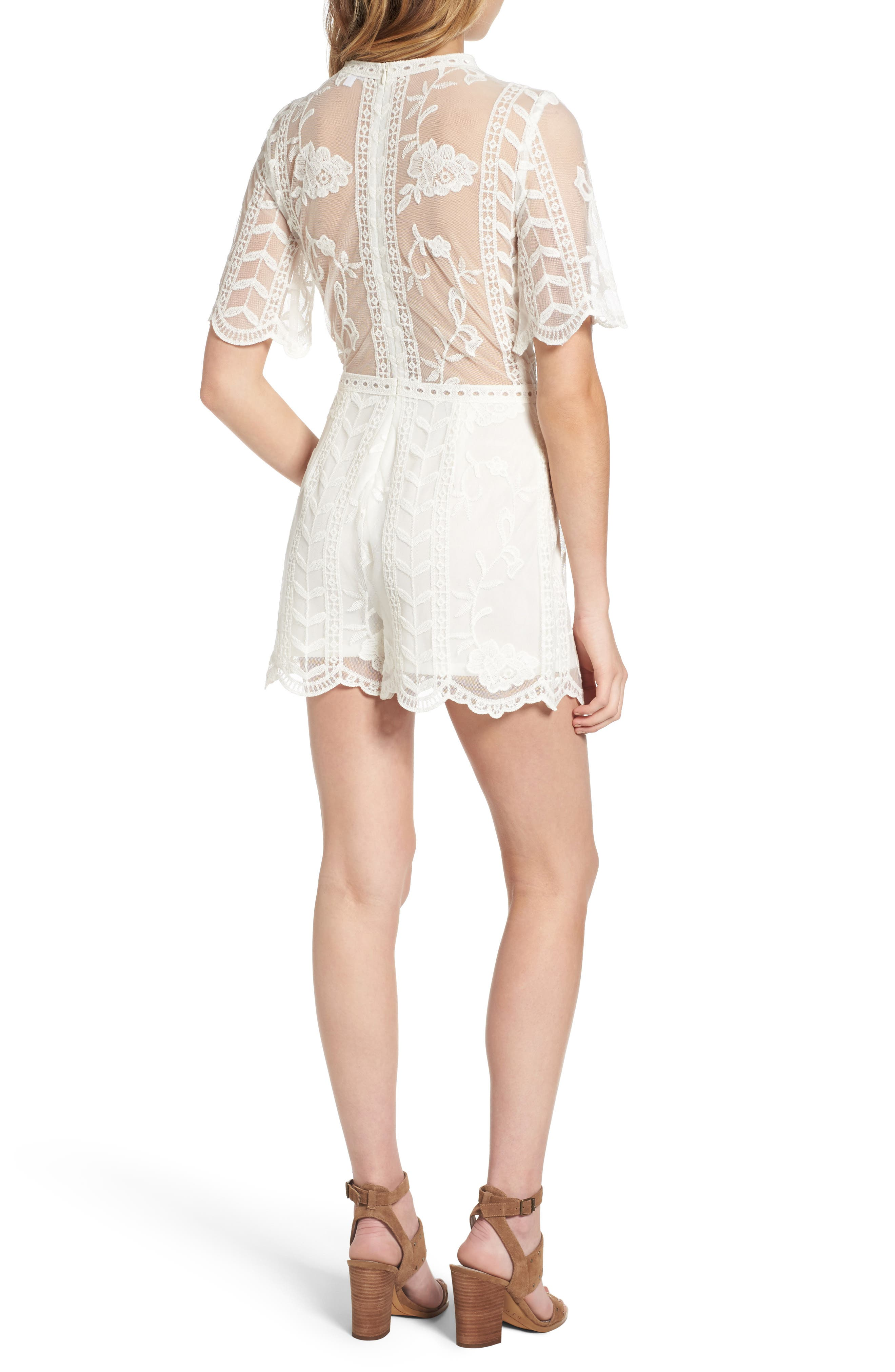 Plunging Lace Romper,                             Alternate thumbnail 2, color,                             Ivory
