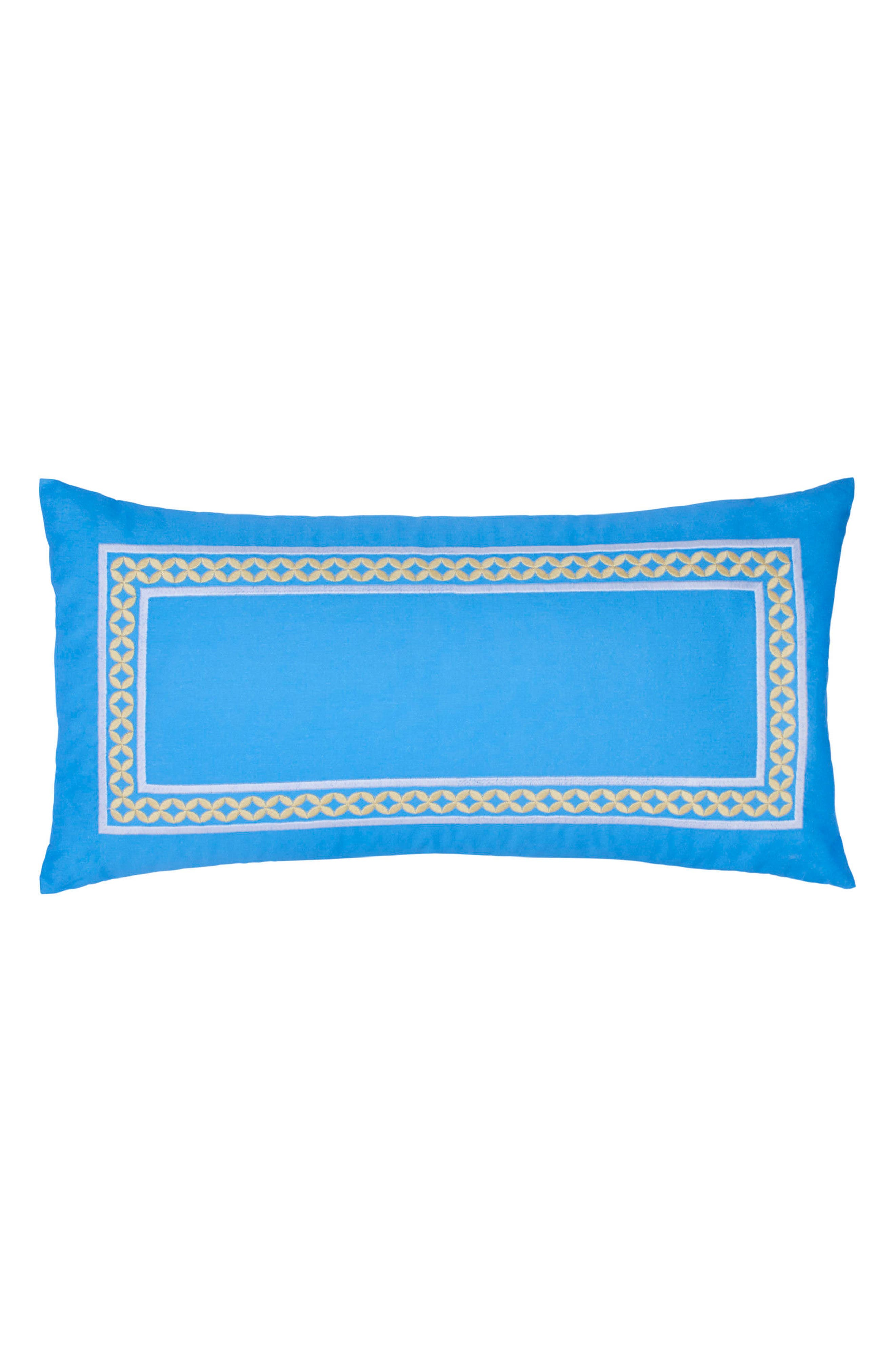 Sailgate Embroidered Border Accent Pillow,                         Main,                         color, Periwinkle