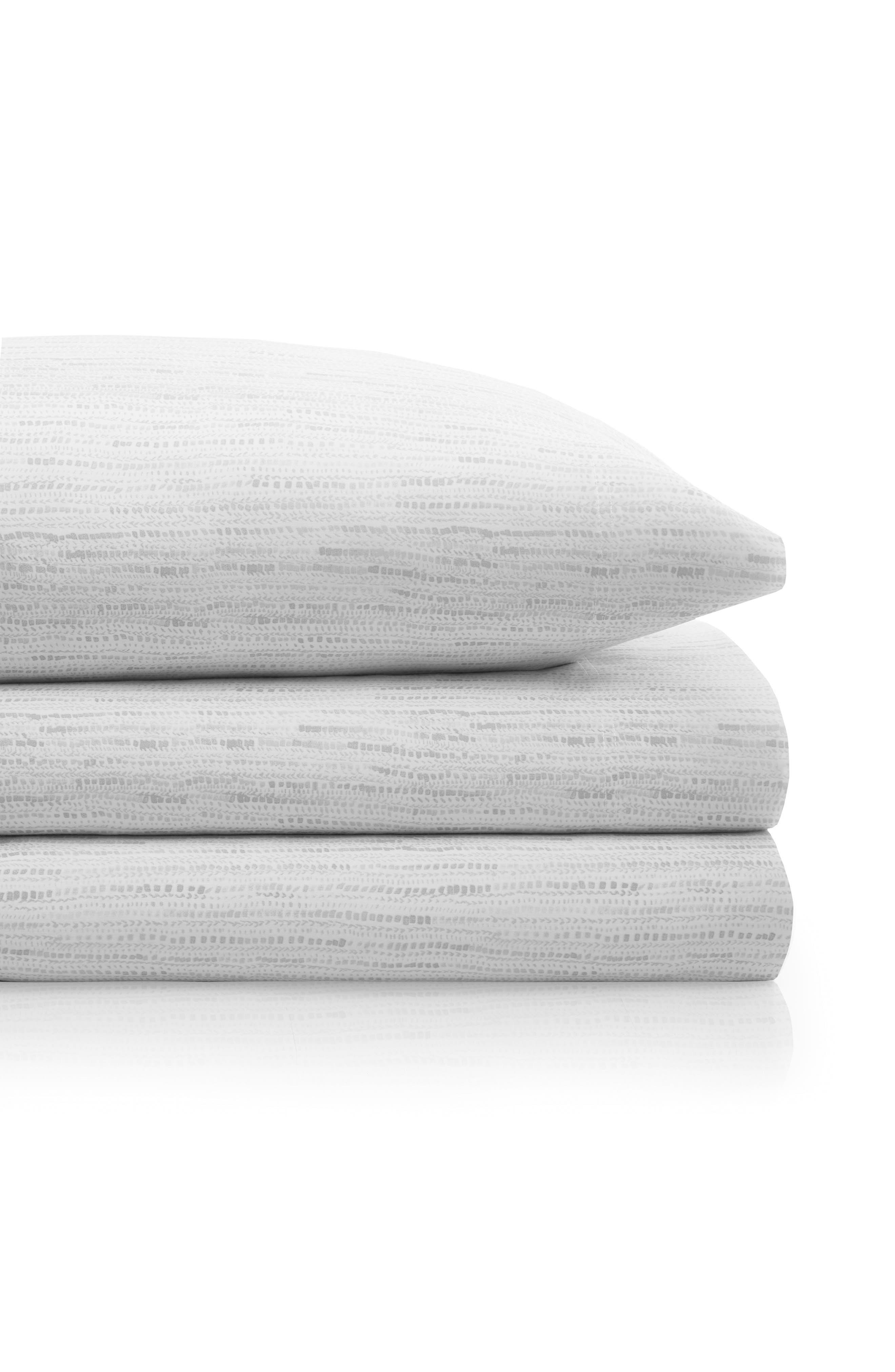 Notch Stripe 200 Thread Count Sheet Set,                         Main,                         color, White
