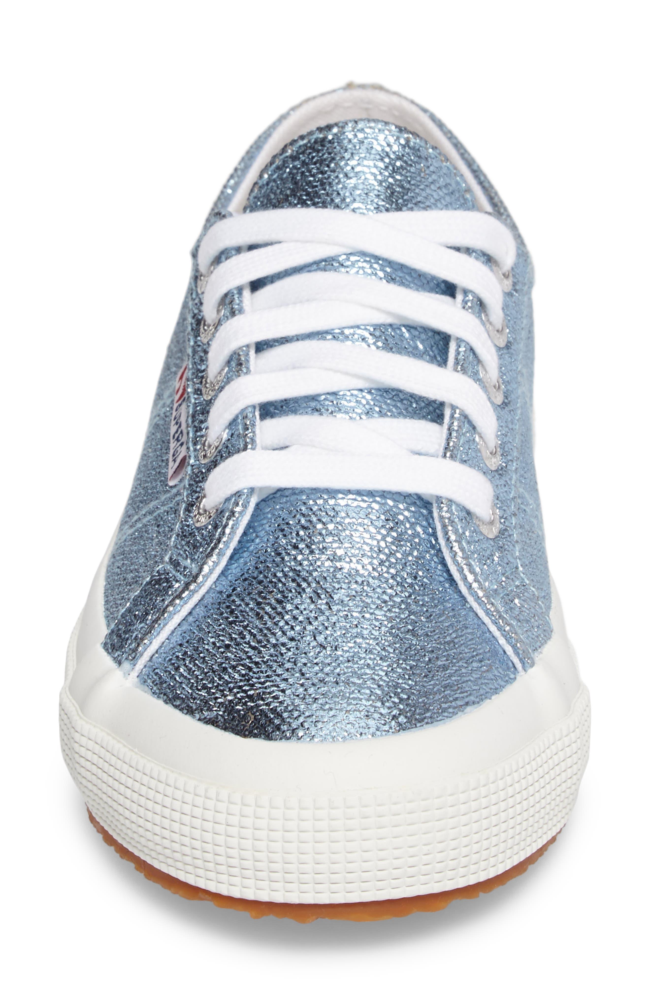 2750 Metallic Sneaker,                             Alternate thumbnail 4, color,                             Light Blue