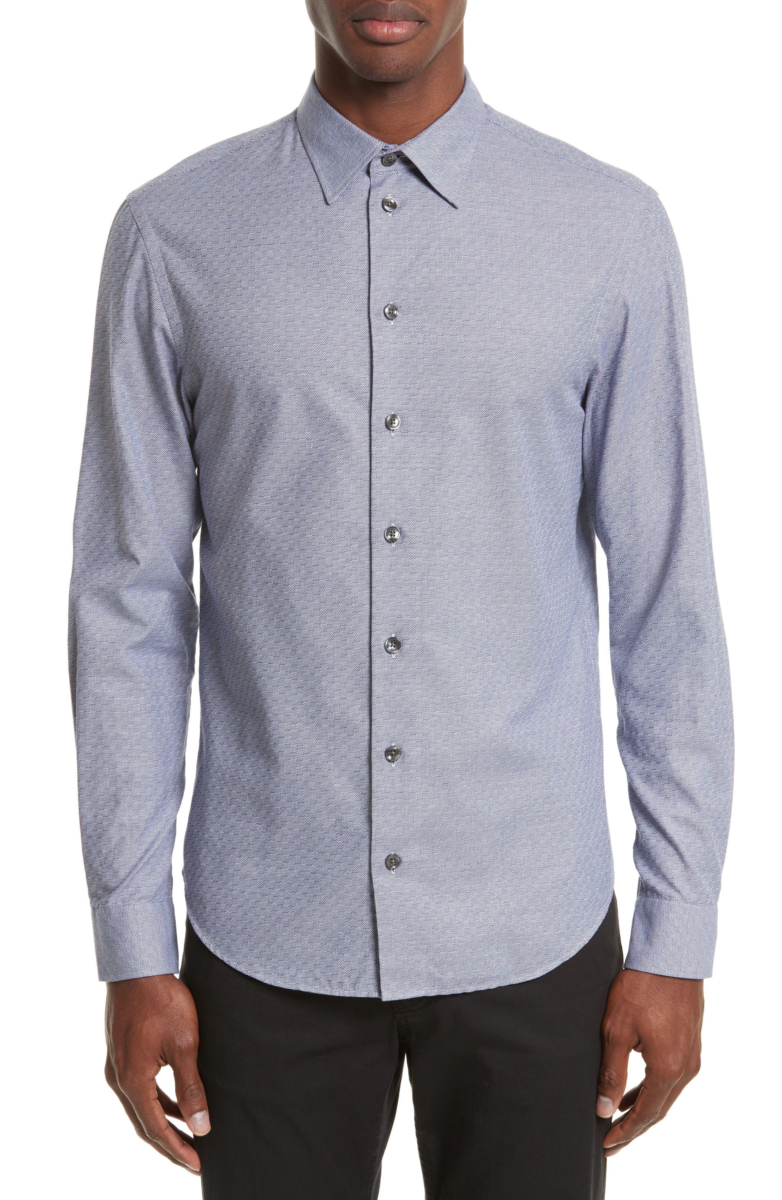 Geo Jacquard Sport Shirt,                         Main,                         color, Fancy Blue