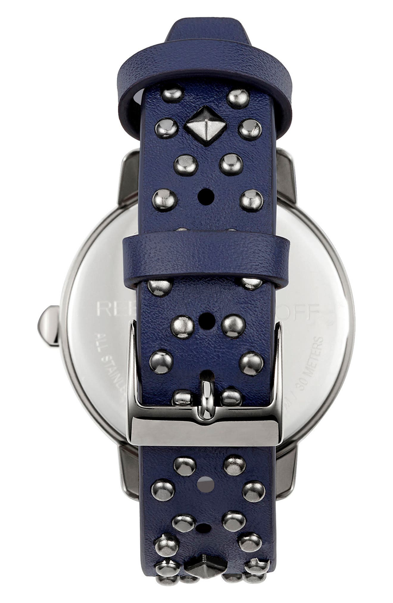 BFFL Studded Leather Strap Watch, 36mm,                             Alternate thumbnail 2, color,                             Navy/ Gunmetal