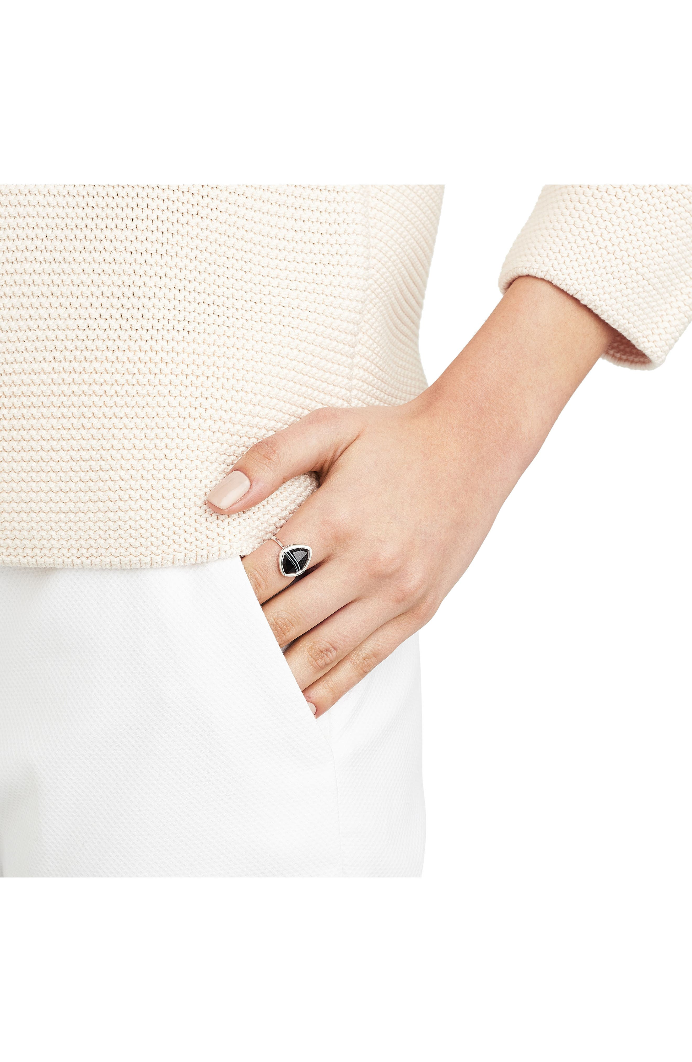 Siren Nugget Semiprecious Stacking Ring,                             Alternate thumbnail 2, color,                             Silver/ Black Line Onyx