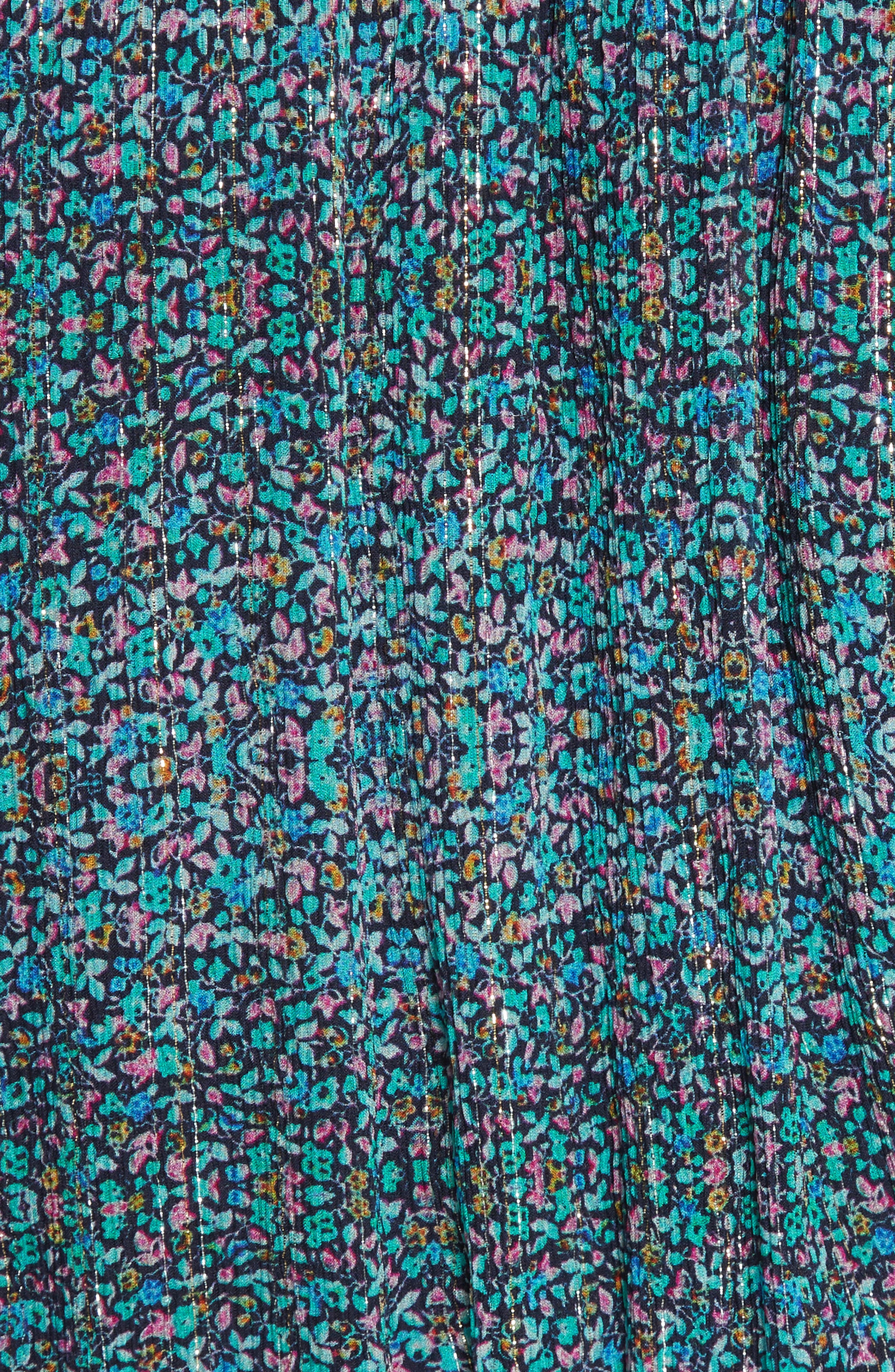 Minnie Floral Chiffon Dress,                             Alternate thumbnail 5, color,                             Turquoise Combo