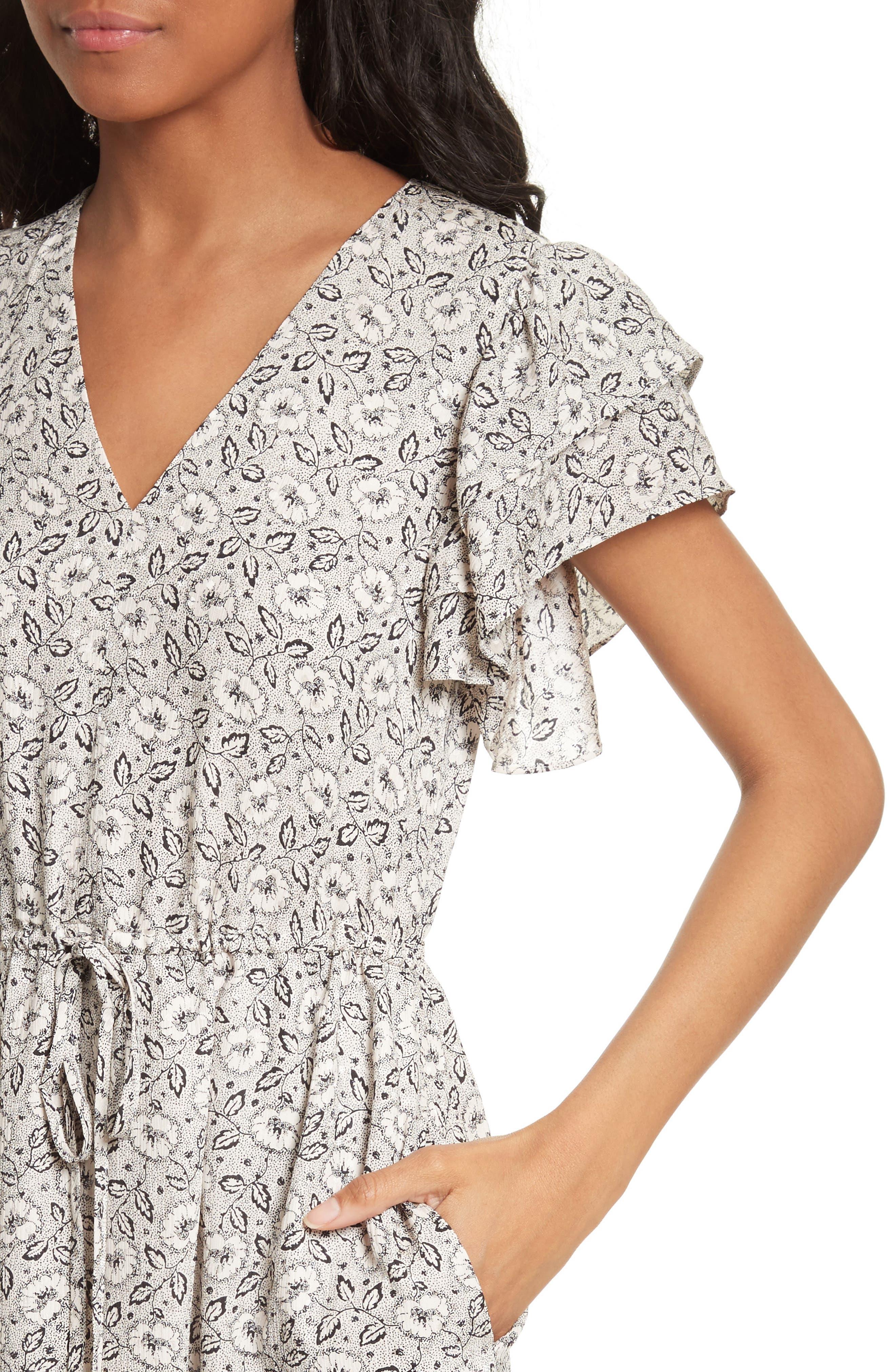 Floral A-Line Silk Dress,                             Alternate thumbnail 4, color,                             Cream Combo