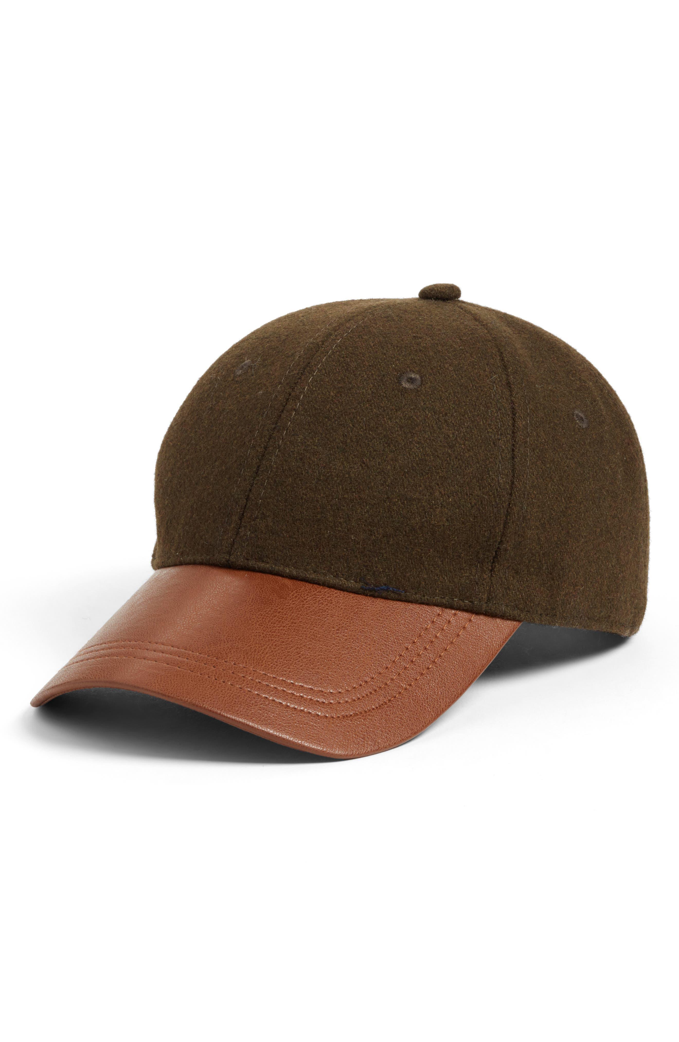 Treasure & Bond Faux Leather Brim Baseball Cap