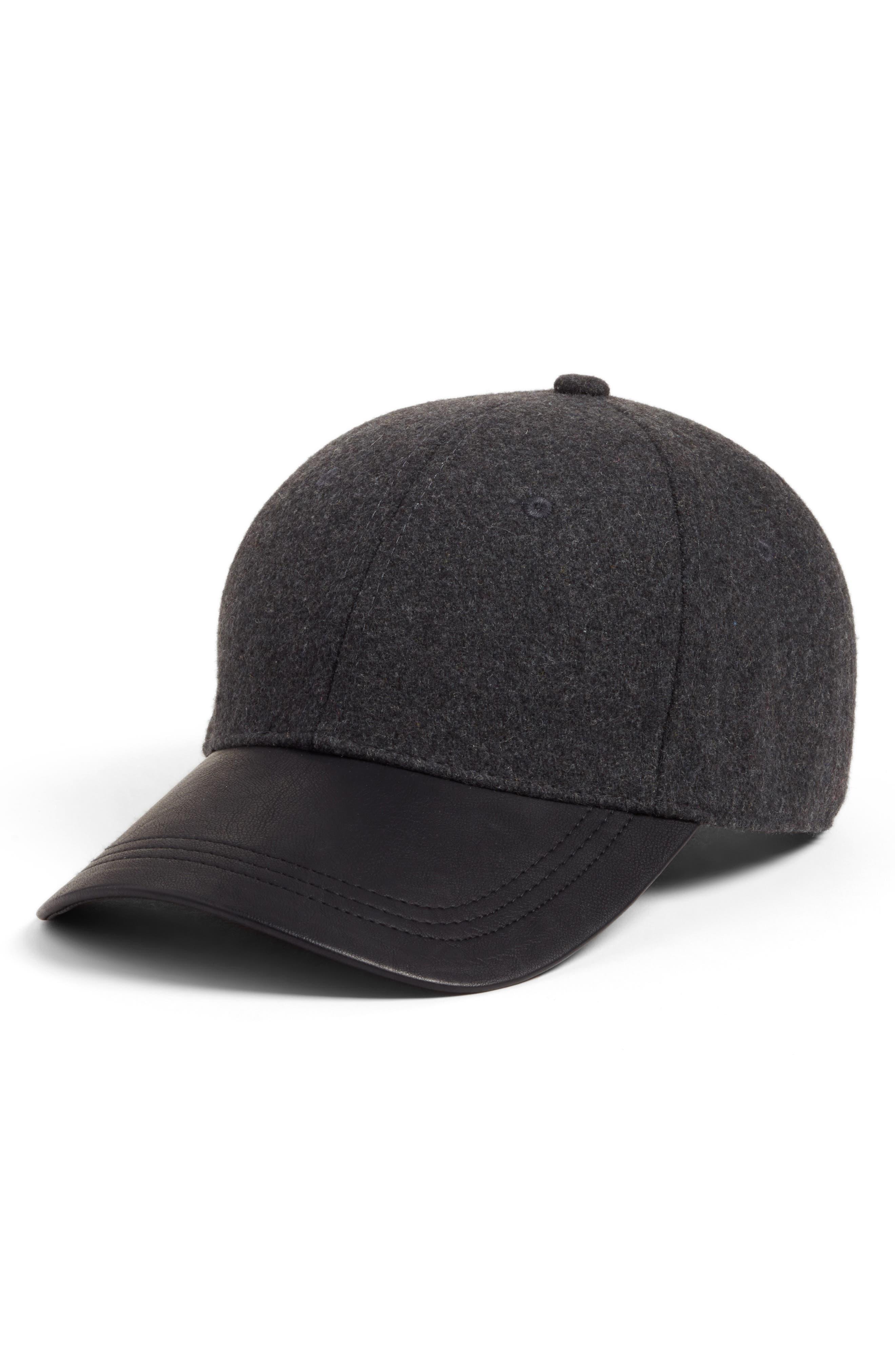 Faux Leather Brim Baseball Cap,                         Main,                         color, Grey-Combo