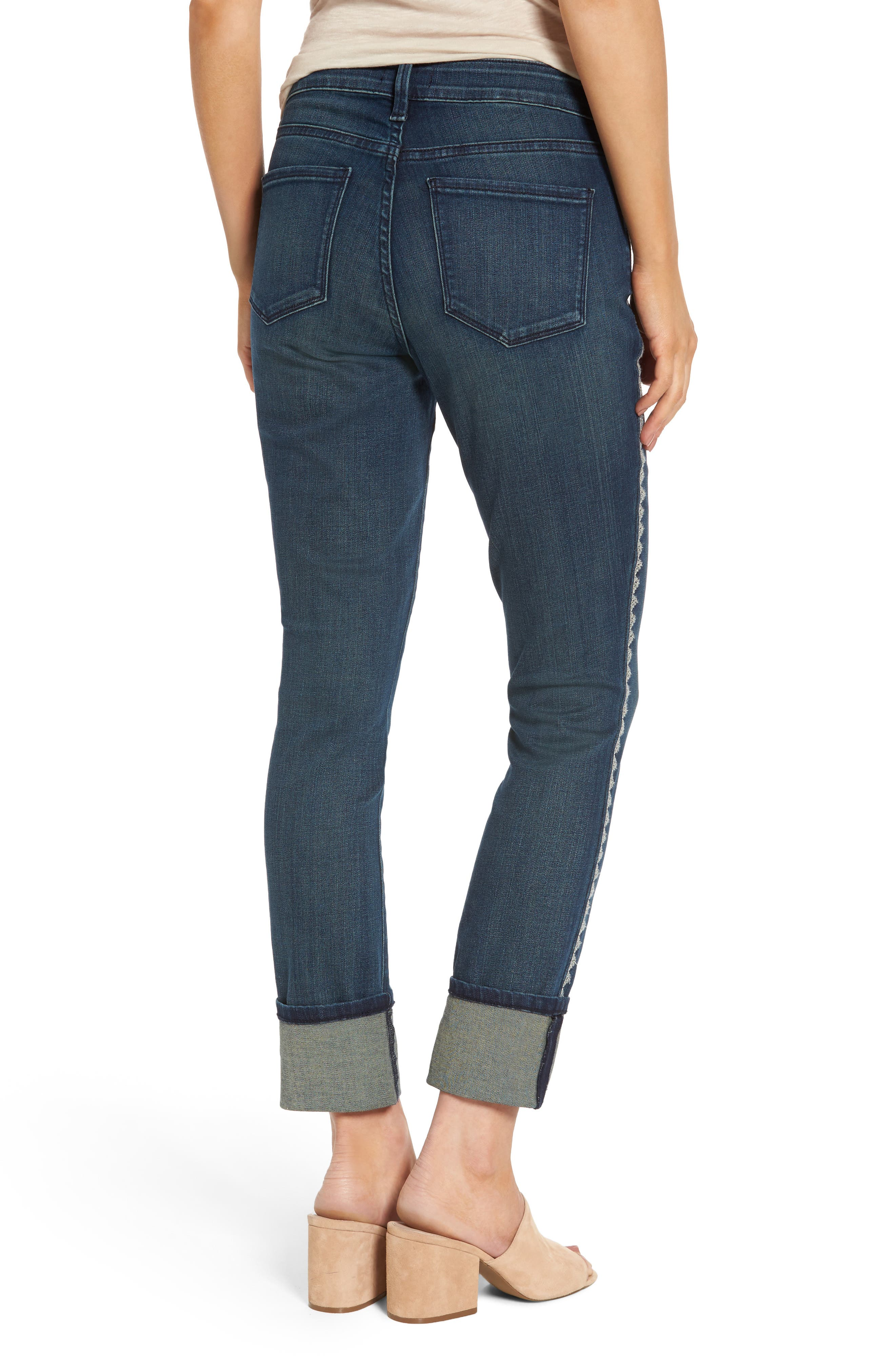 Alina Embroidered Wide Cuff Stretch Ankle Jeans,                             Alternate thumbnail 2, color,                             Oak Hill