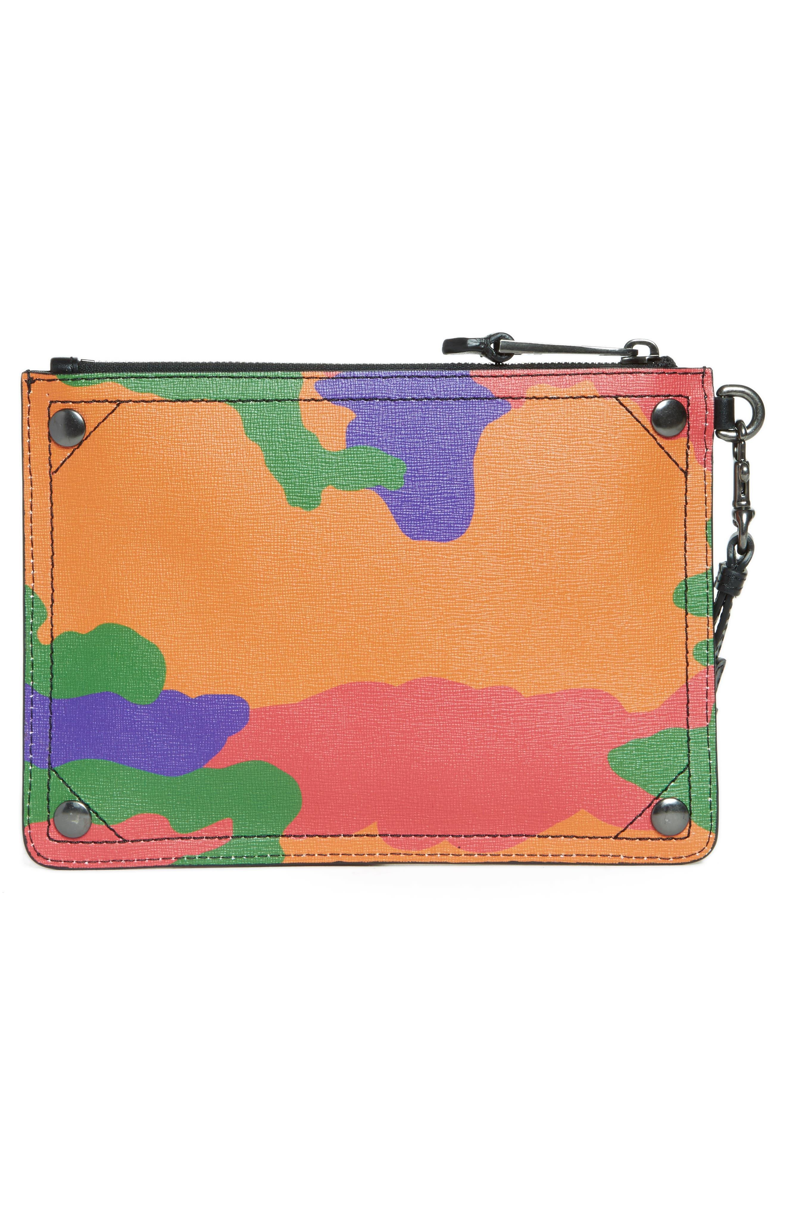 Multi Camo Print Leather Zip Pouch Wristlet,                             Alternate thumbnail 4, color,                             Camo Multi