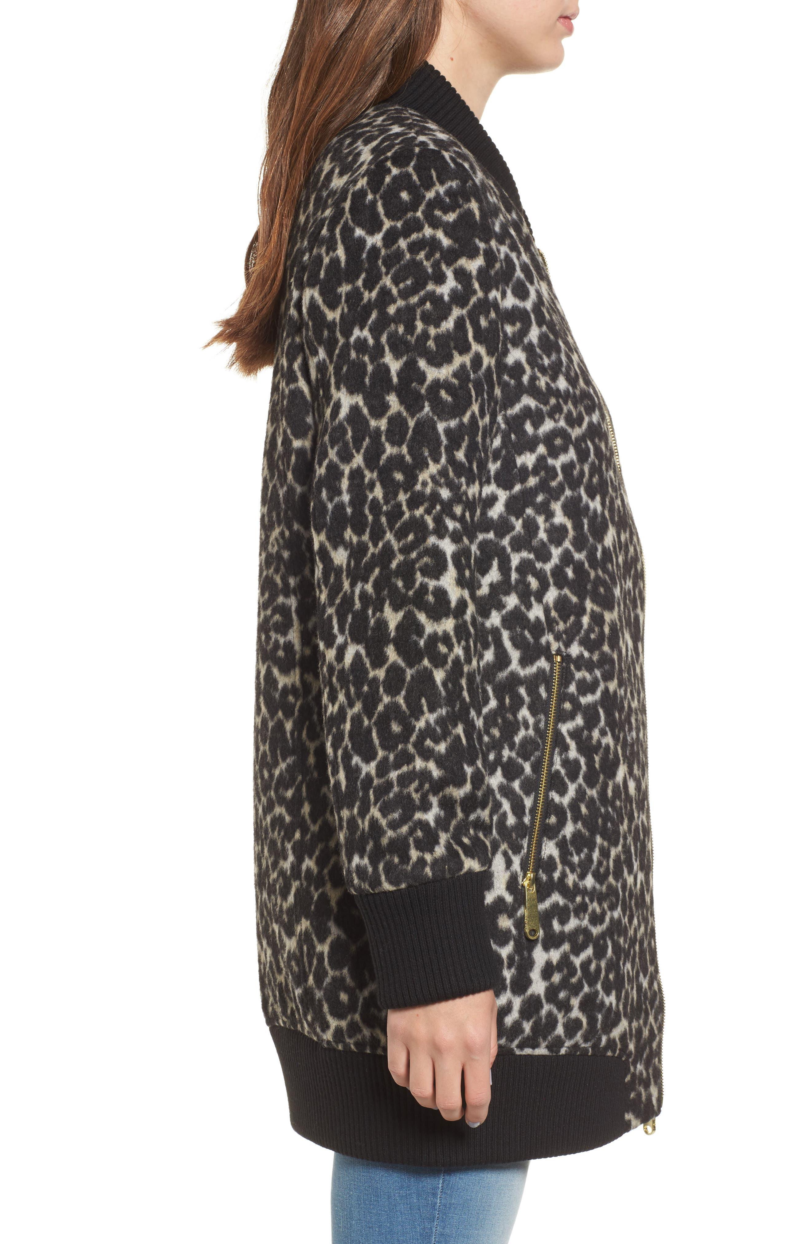 Leopard Print Longline Bomber Jacket,                             Alternate thumbnail 3, color,                             Cream Leopard