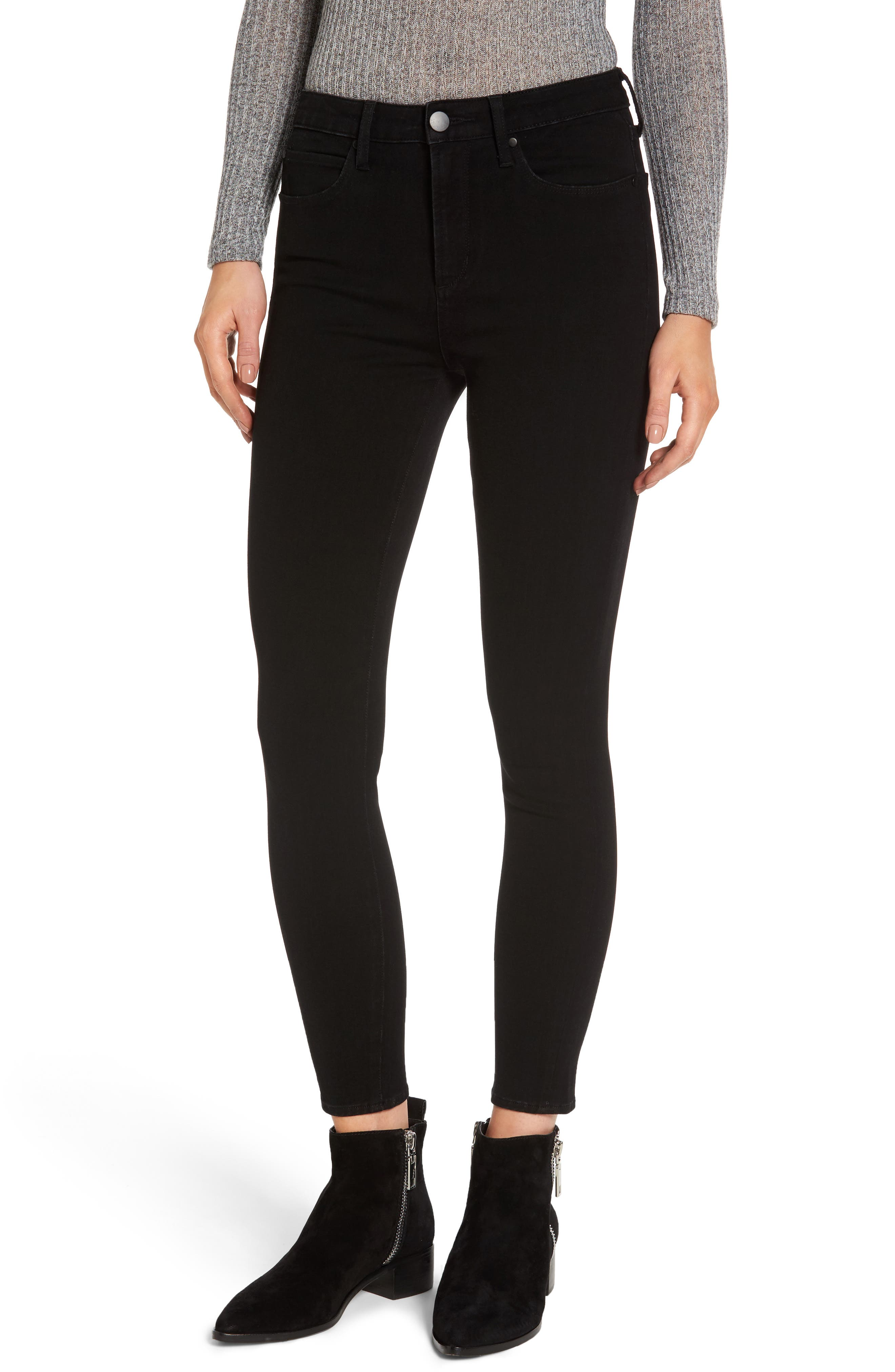 Ankle Skinny Jeans,                         Main,                         color, Black