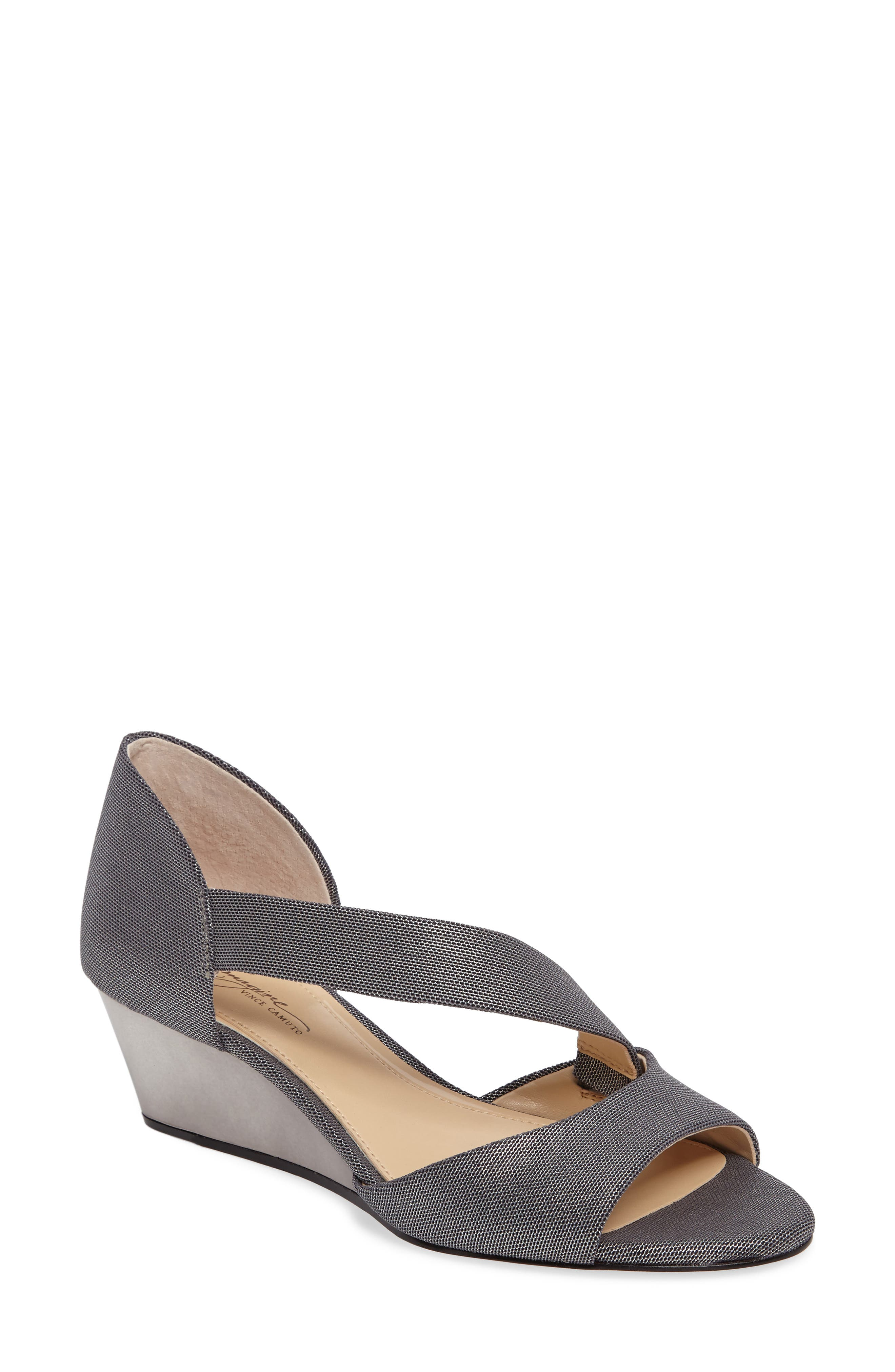 Jefre Wedgee Sandal,                             Main thumbnail 1, color,                             Anthracite Fabric