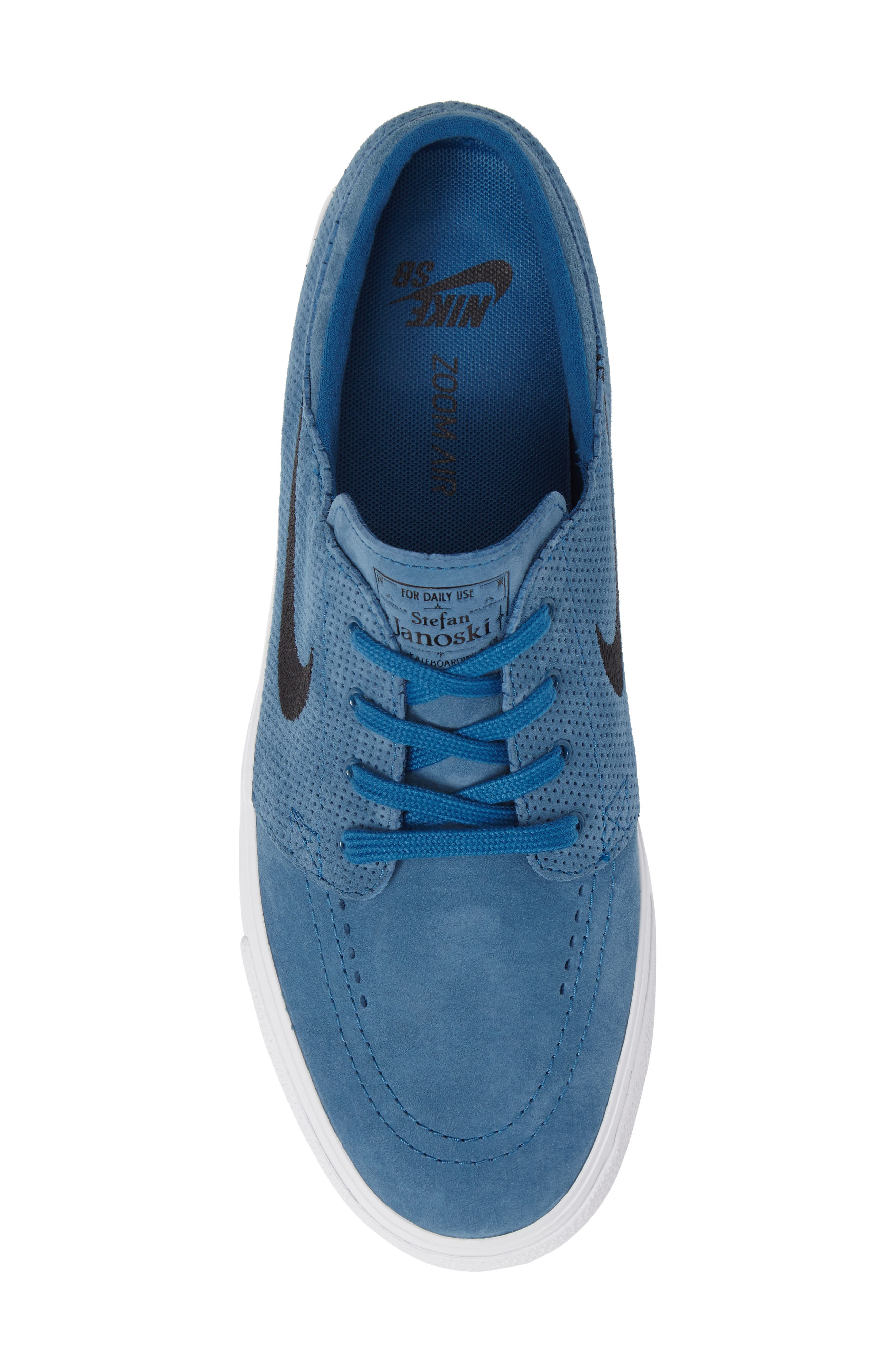 Zoom Stefan Janoski Premium Skate Sneaker,                             Alternate thumbnail 3, color,                             Industrial Blue/ Black
