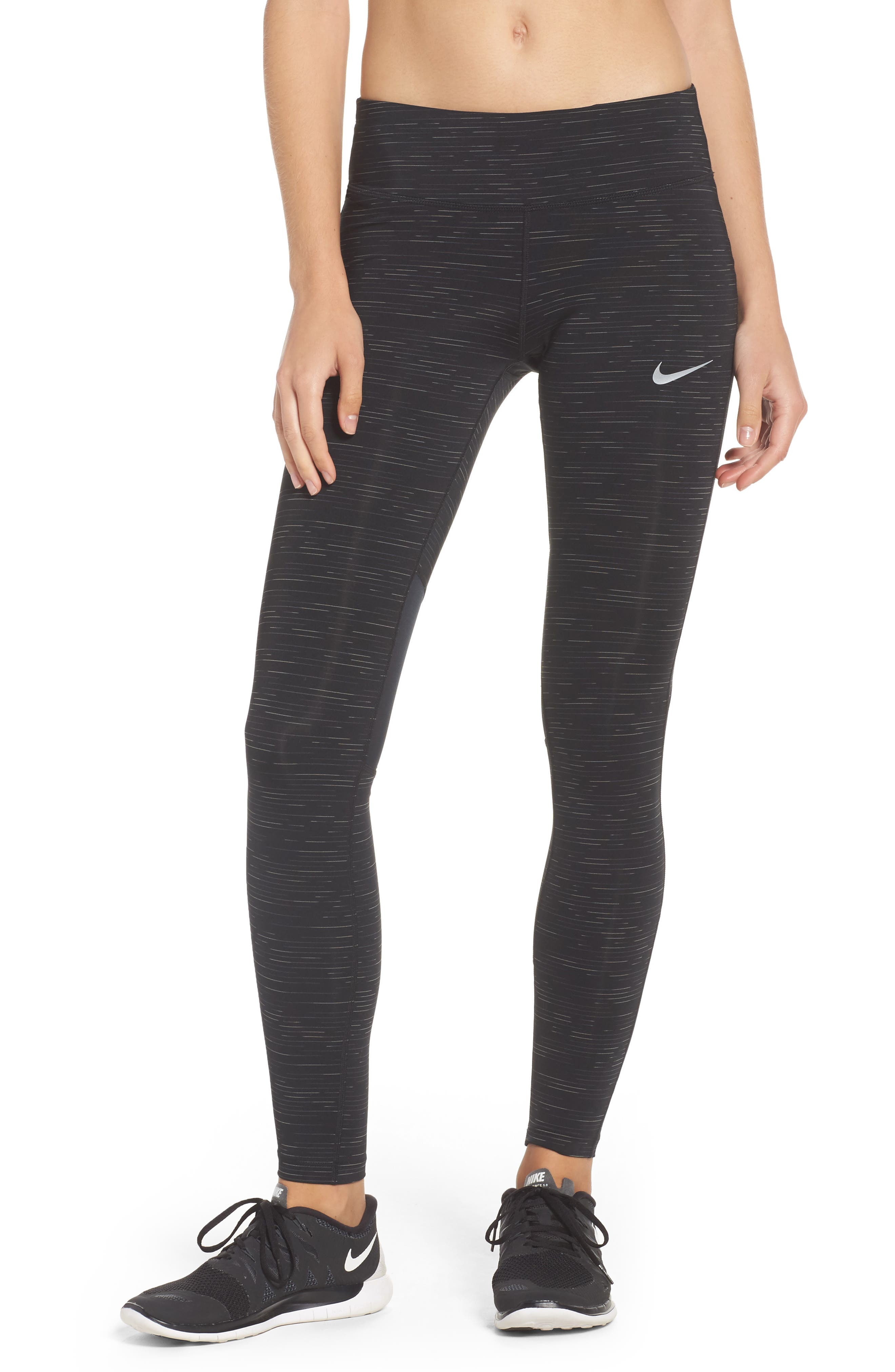 Power Epic Lux Running Tights,                         Main,                         color, Black
