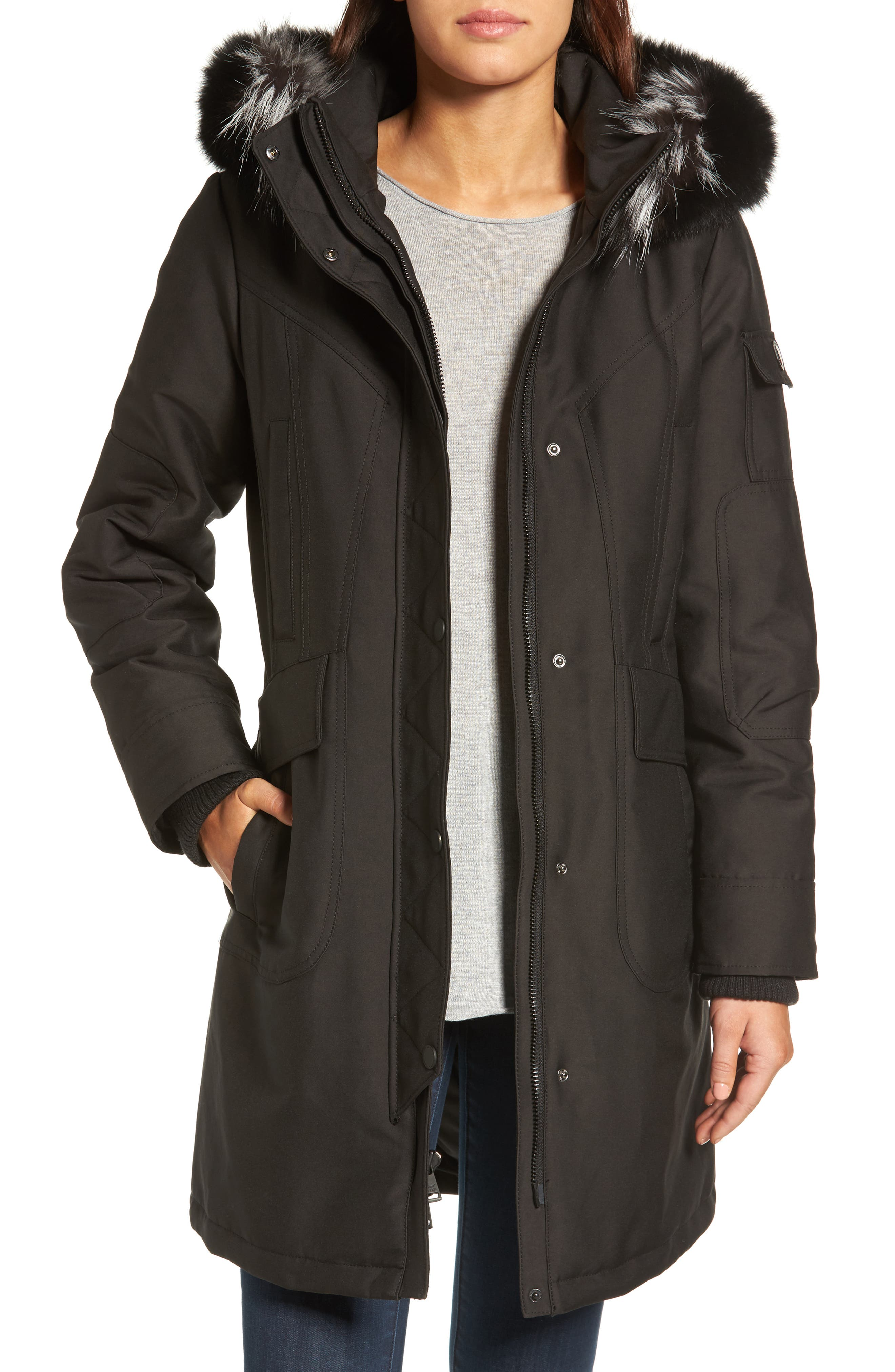 1 Madison Parka with Removable Genuine Fox Fur Trim Hood