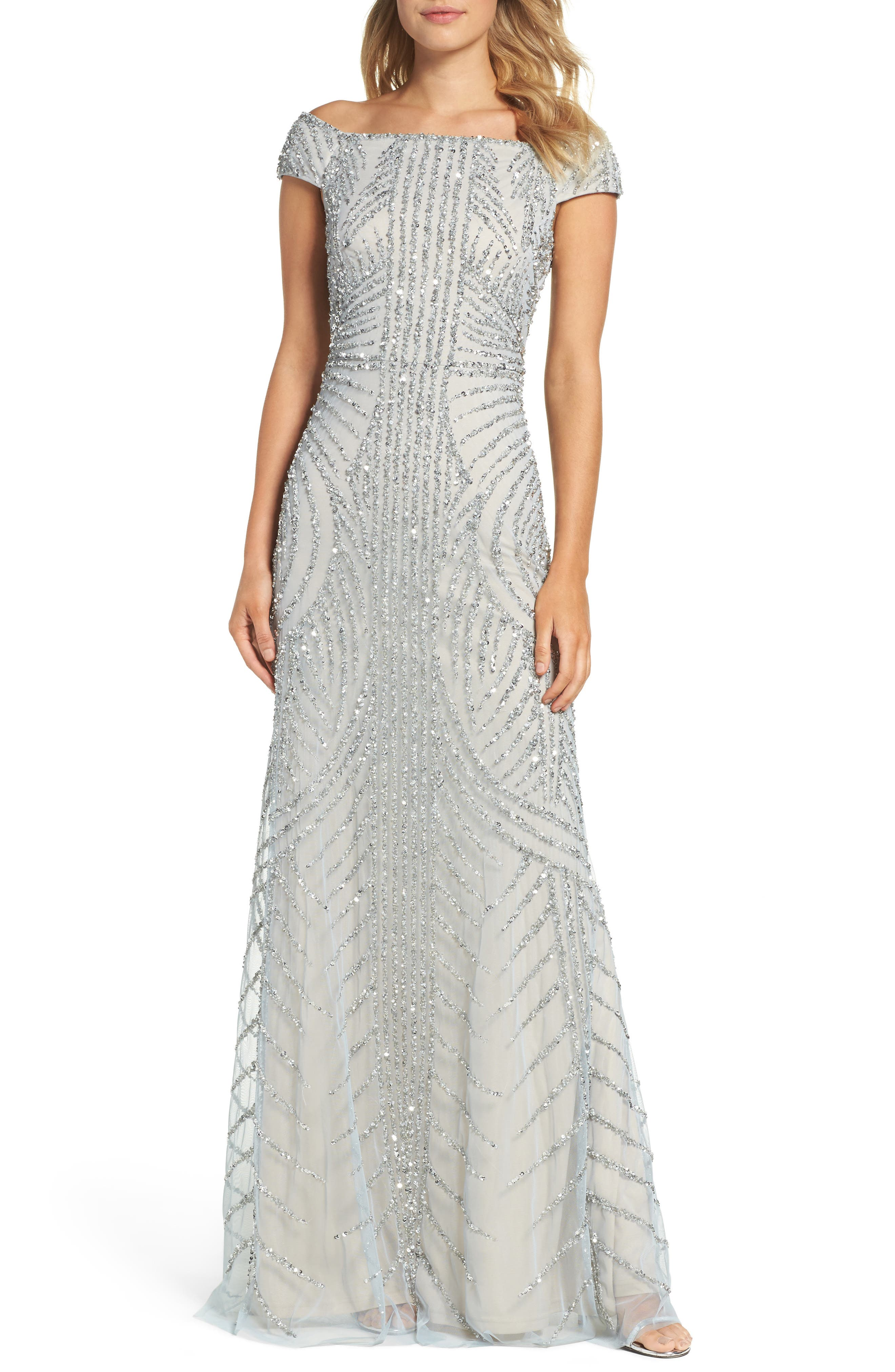 Off the Shoulder Beaded Gown,                         Main,                         color, Blue Heather/ Silver
