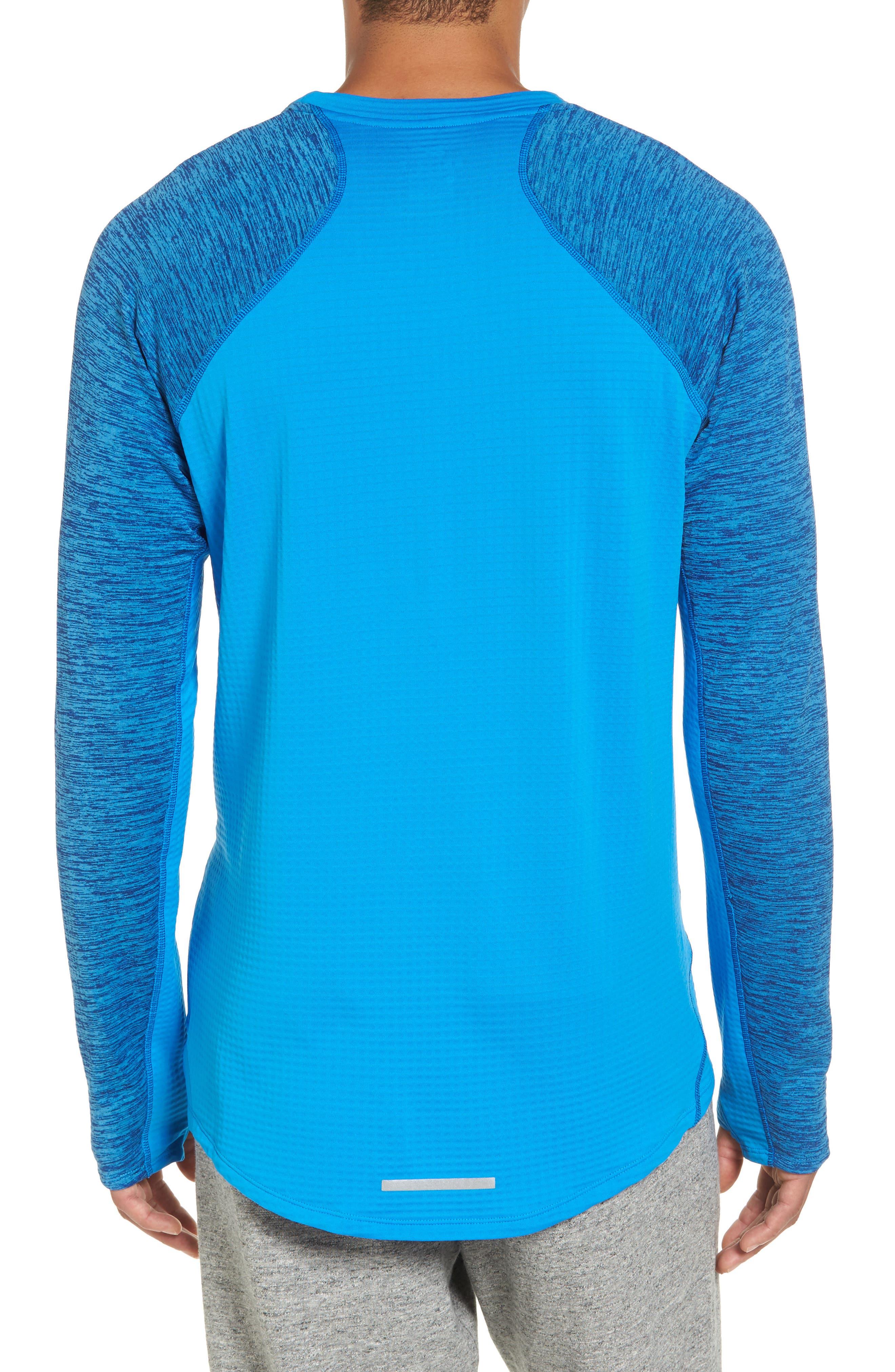 ThermaSphere Long Sleeve Running T-Shirt,                             Alternate thumbnail 2, color,                             Binary Blue/ Purple/ Heather