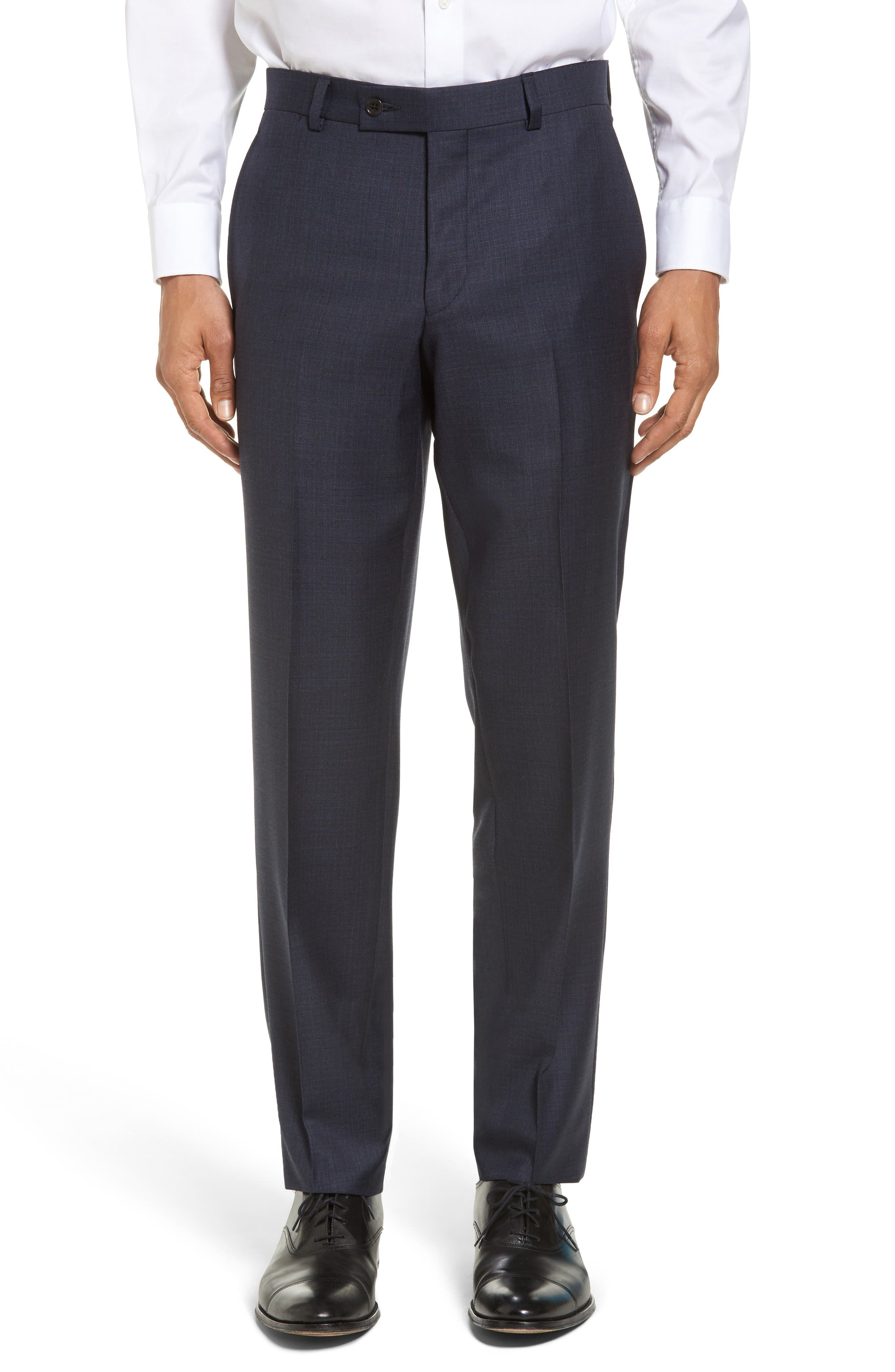 Jefferson Flat Front Solid Wool Trousers,                             Main thumbnail 1, color,                             Navy