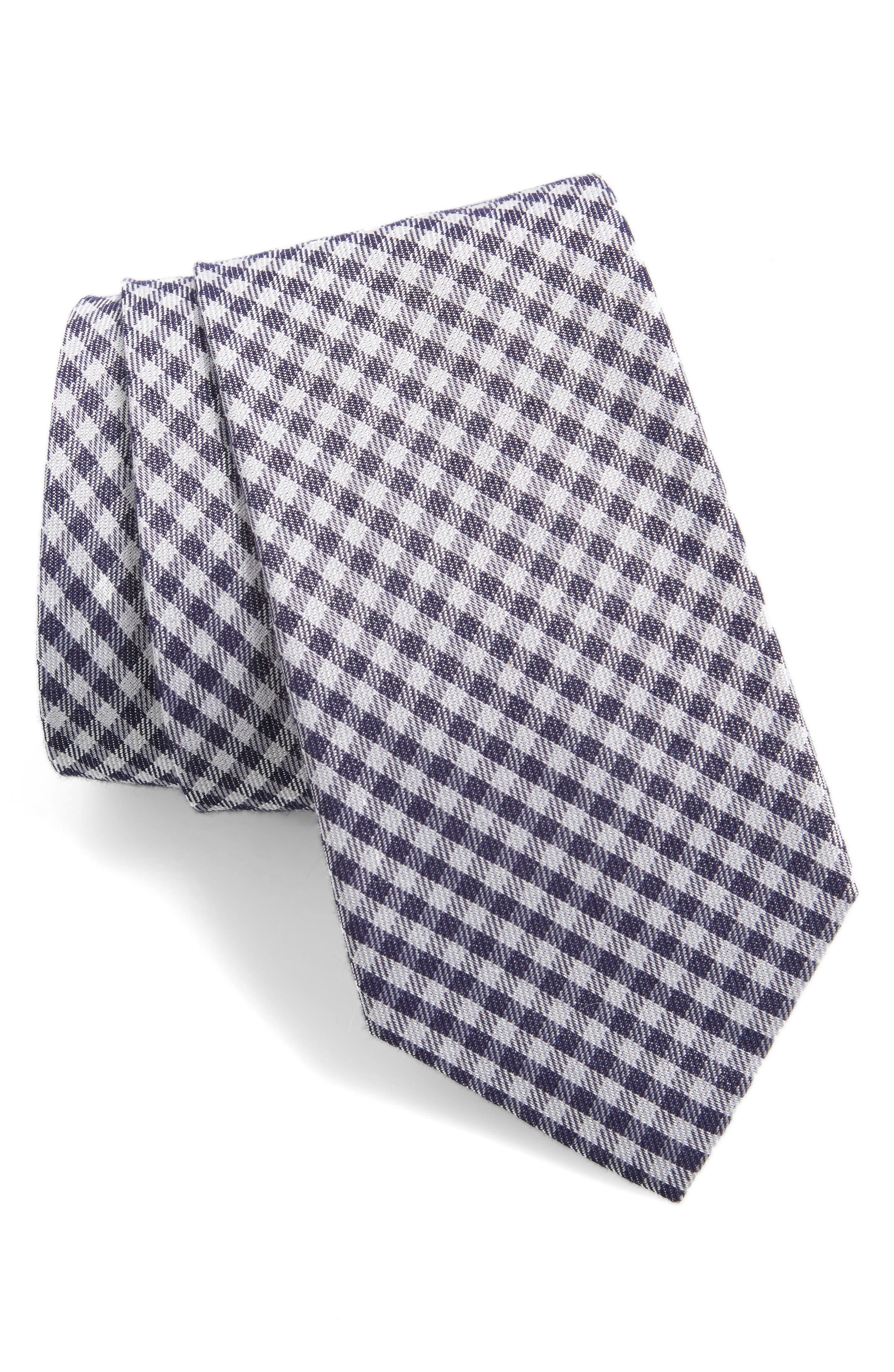 Check Cotton & Silk Tie,                             Main thumbnail 1, color,                             Navy