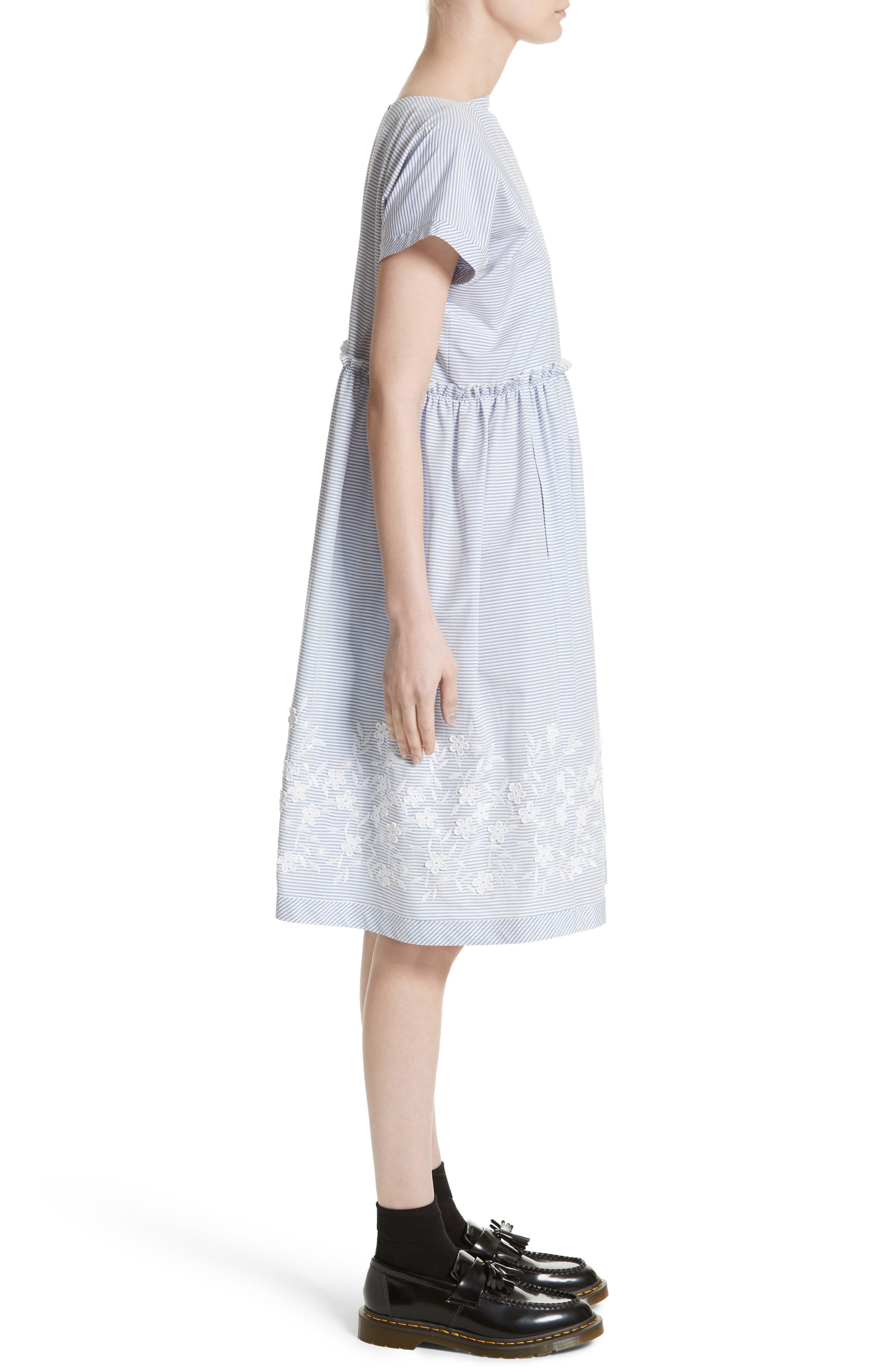 Floral Embroidered Stripe Shift Dress,                             Alternate thumbnail 6, color,                             Wide Stripe