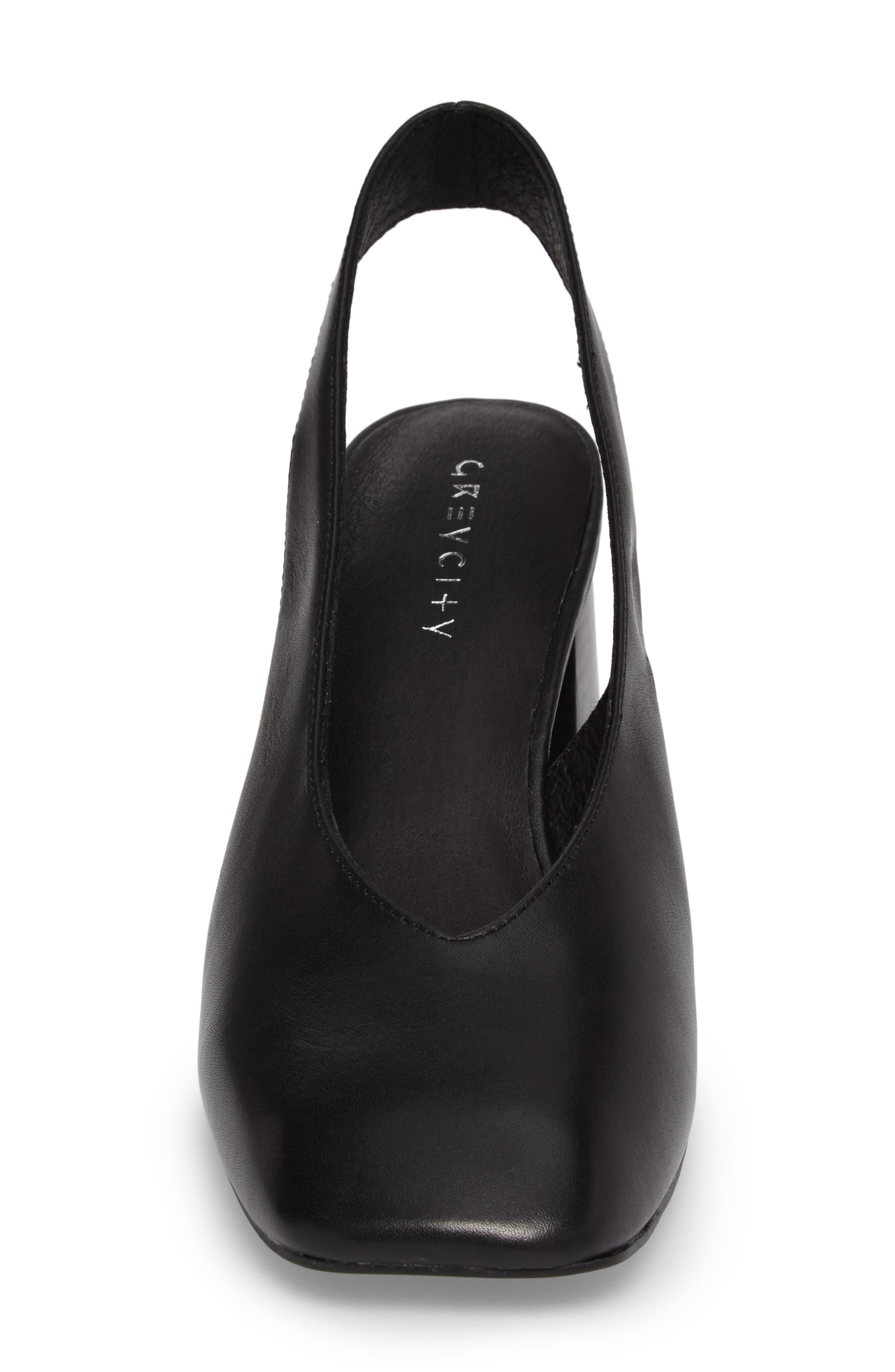Sydney Square-Toe Slingback Pump,                             Alternate thumbnail 4, color,                             Black
