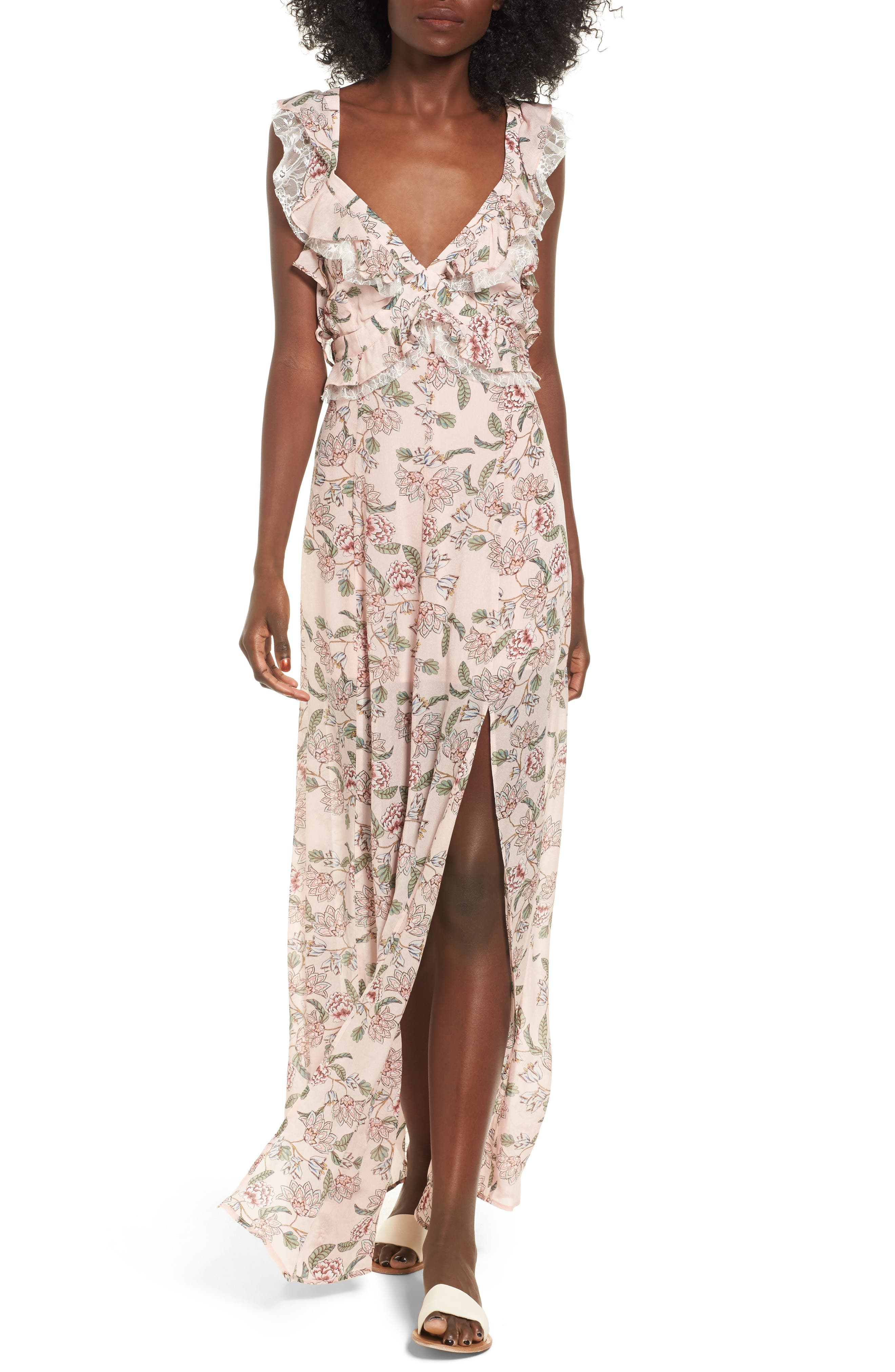 For Love & Lemons Bee Balm Floral Maxi Dress
