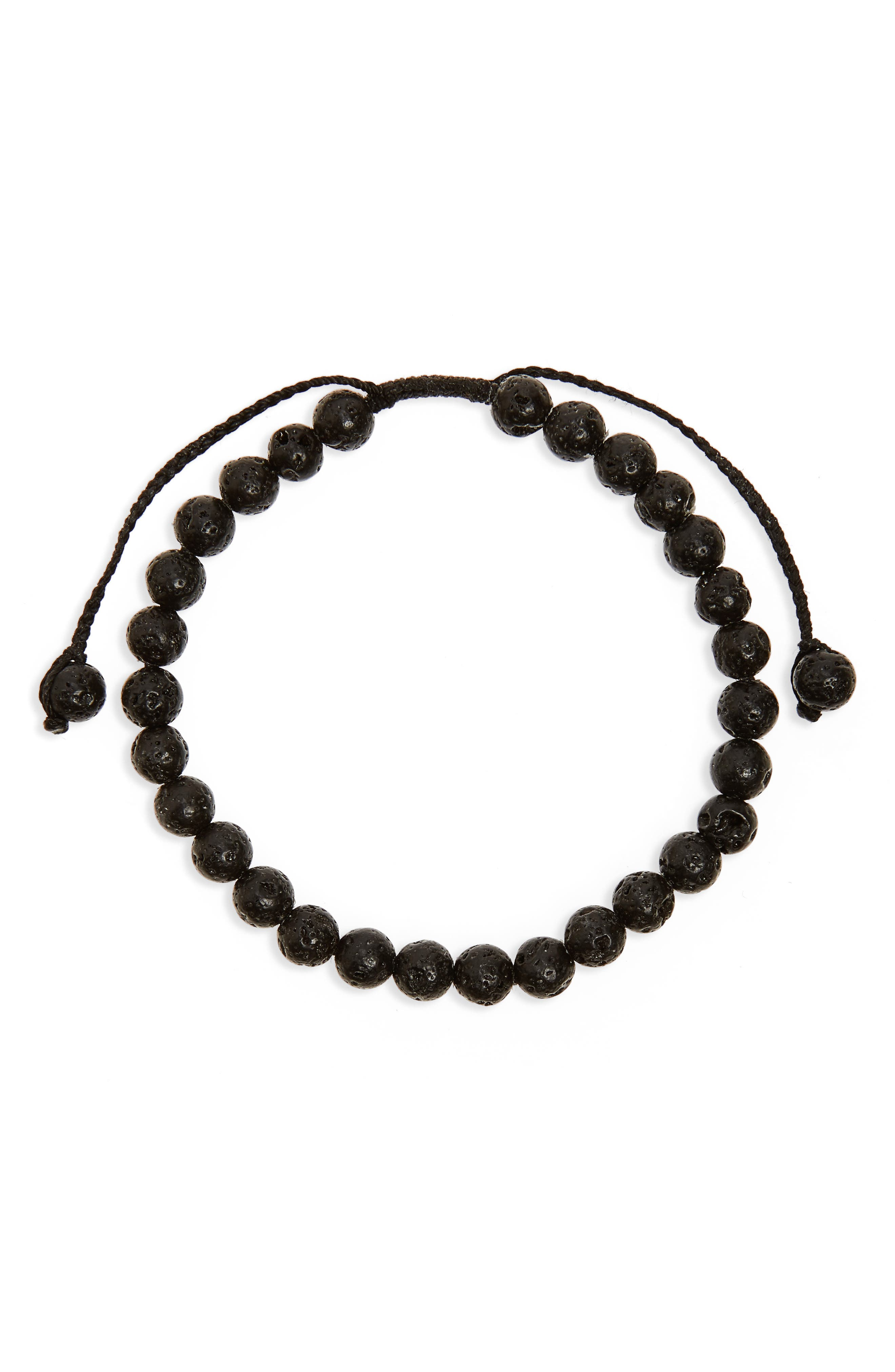 Lava Stone Bead Bracelet,                         Main,                         color, Black