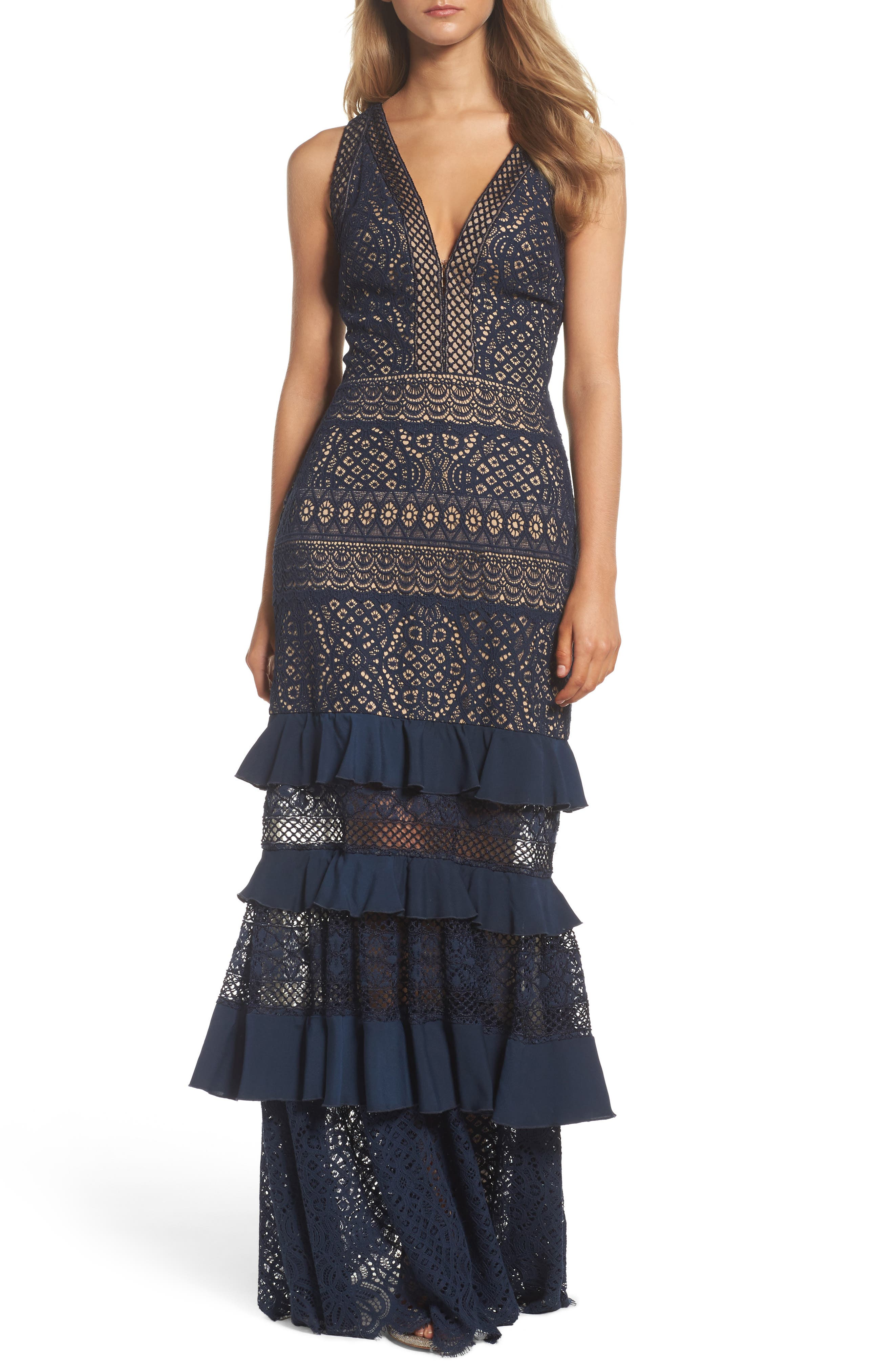 V-Neck Tiered Gown,                             Main thumbnail 1, color,                             Navy/ Nude