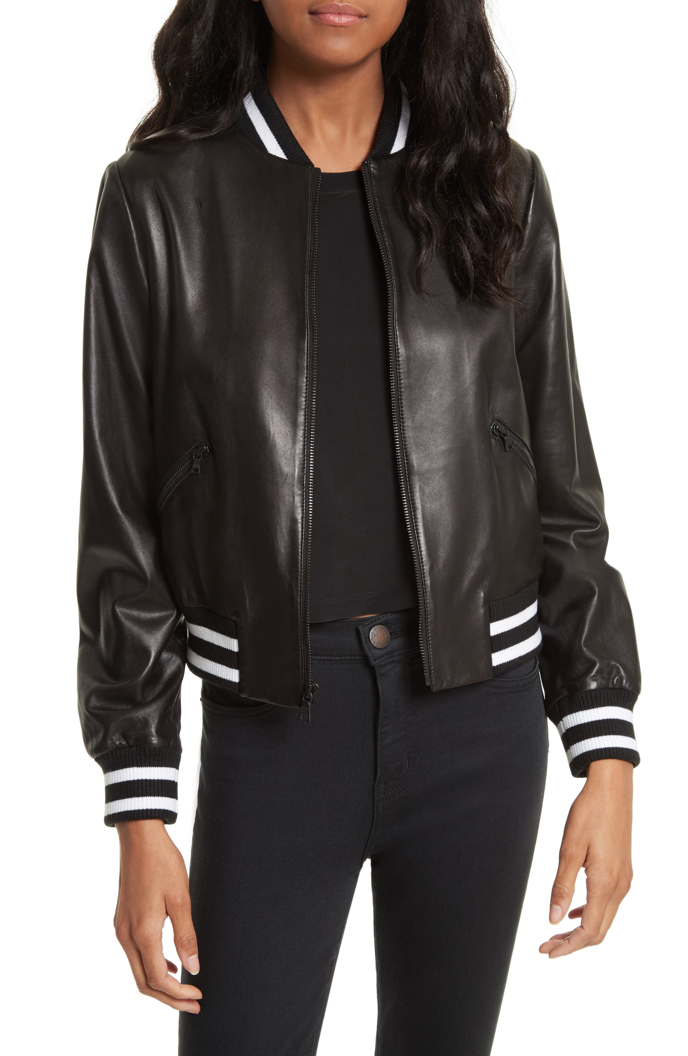 Demia Embellished Crop Leather Bomber Jacket,                             Main thumbnail 1, color,                             Black